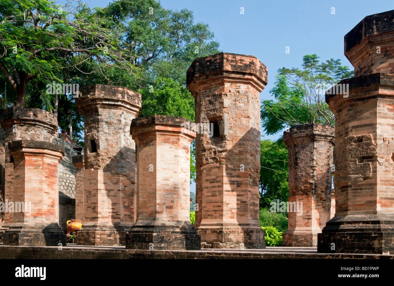 Ten pillars originally supporting roof of a mandala, Po Nagar Cham Towers or 'Thap Ba' (Lady of the City), - Stock Image