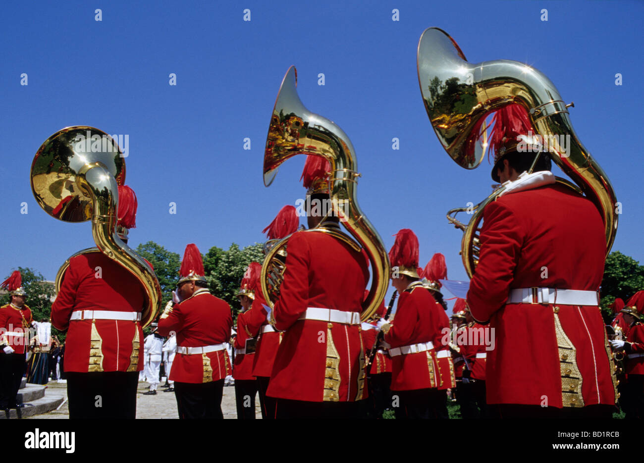 Band during a ceremony on the occasion of the affiliation of the Ionian Islands and Greece, Corfu Town, Corfu Island, - Stock Image