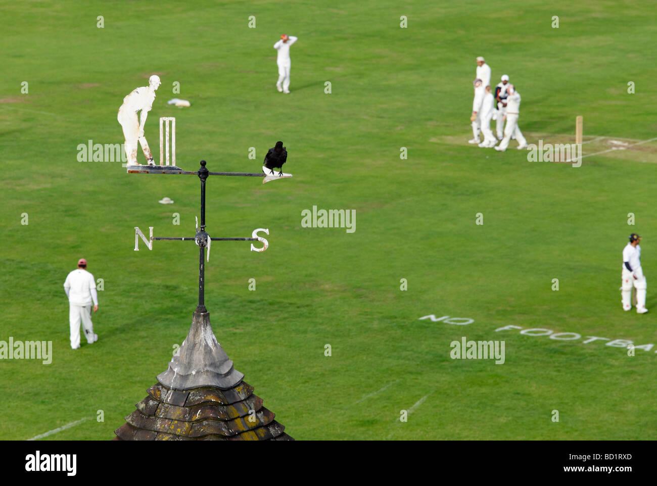 Cricket match on Parker's Piece, Cambridge 2 - Stock Image