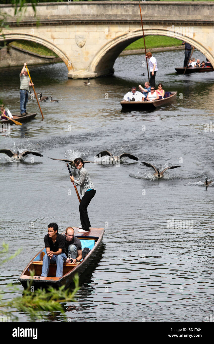 Punting on the Cam viewed from Garret Hostel Lane Cambridge - Stock Image