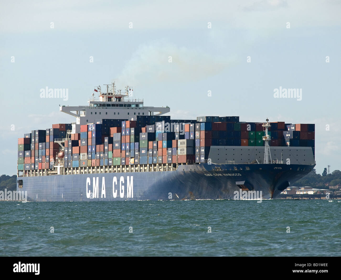 Container ship CMA CGM Nabucco leaving Southampton UK - Stock Image