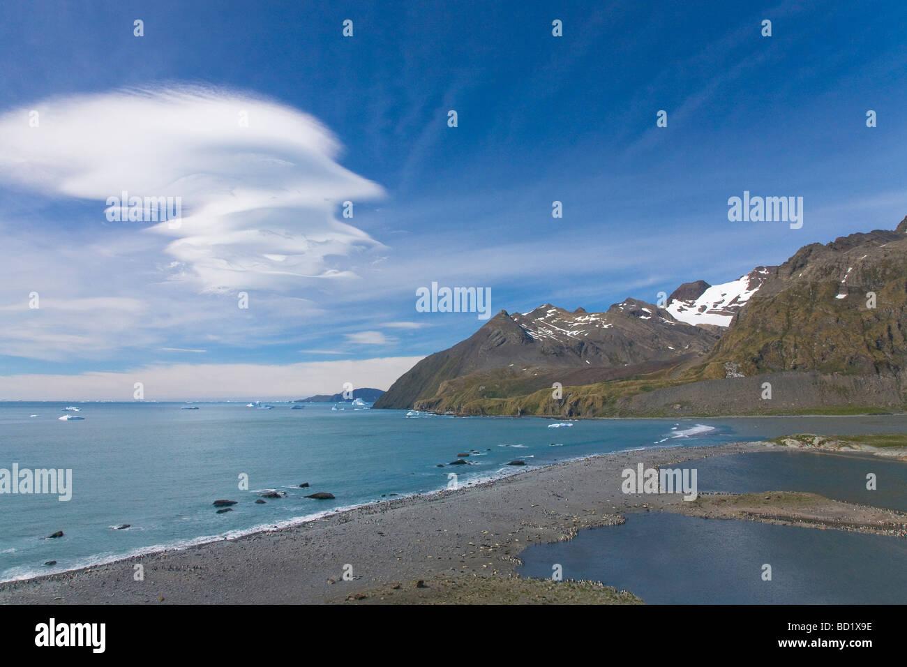 Lenticular cloud over Gold Harbour South Georgia Antarctica - Stock Image