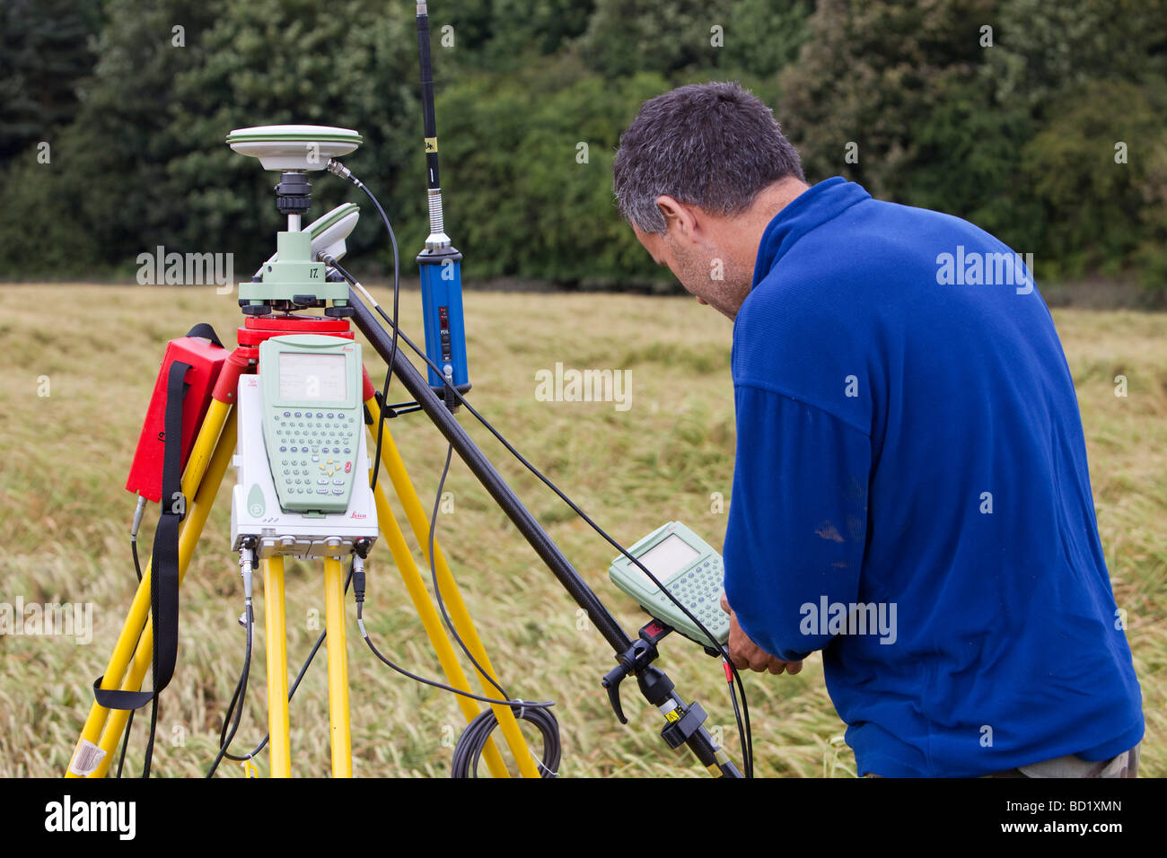 A differential GPS being used in real time kinematic survey to survey the extent of the Durham canyon flooding feature - Stock Image