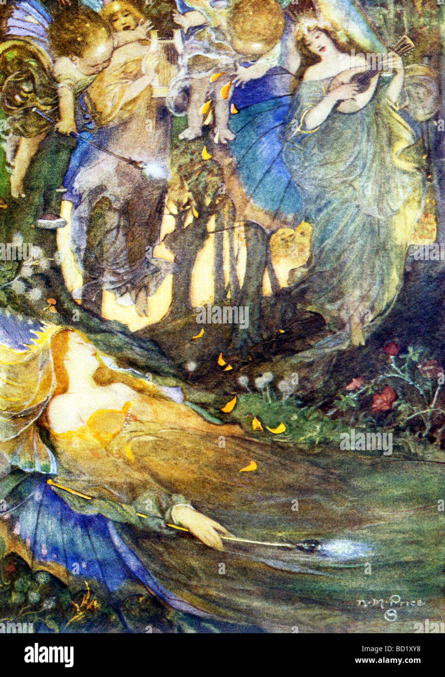 Fairies are shown singing Titania (from Shakespeare's A Midsummer Night's Dream), the queen of the fairies, - Stock Image