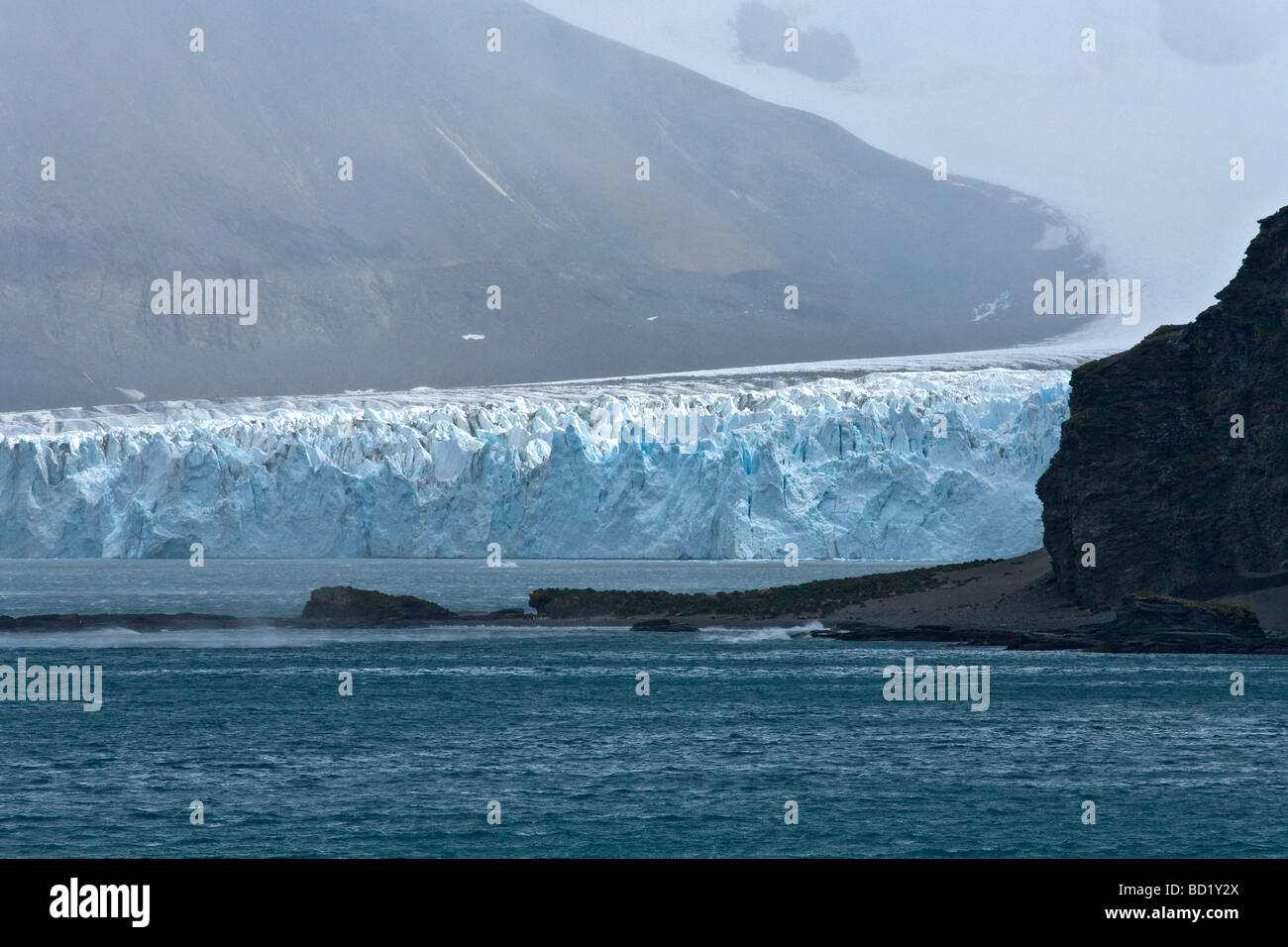 Fortuna Glacier tidewater melting into Cumberland Sound South Georgia Antarctica - Stock Image