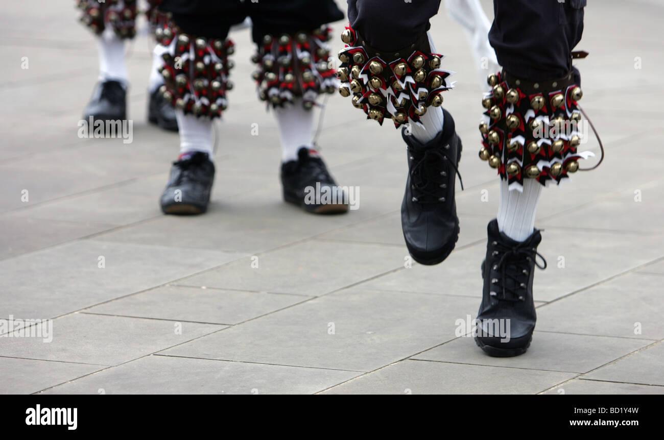 Morris dancers at Sadberge, near Darlington, in County Durham. - Stock Image