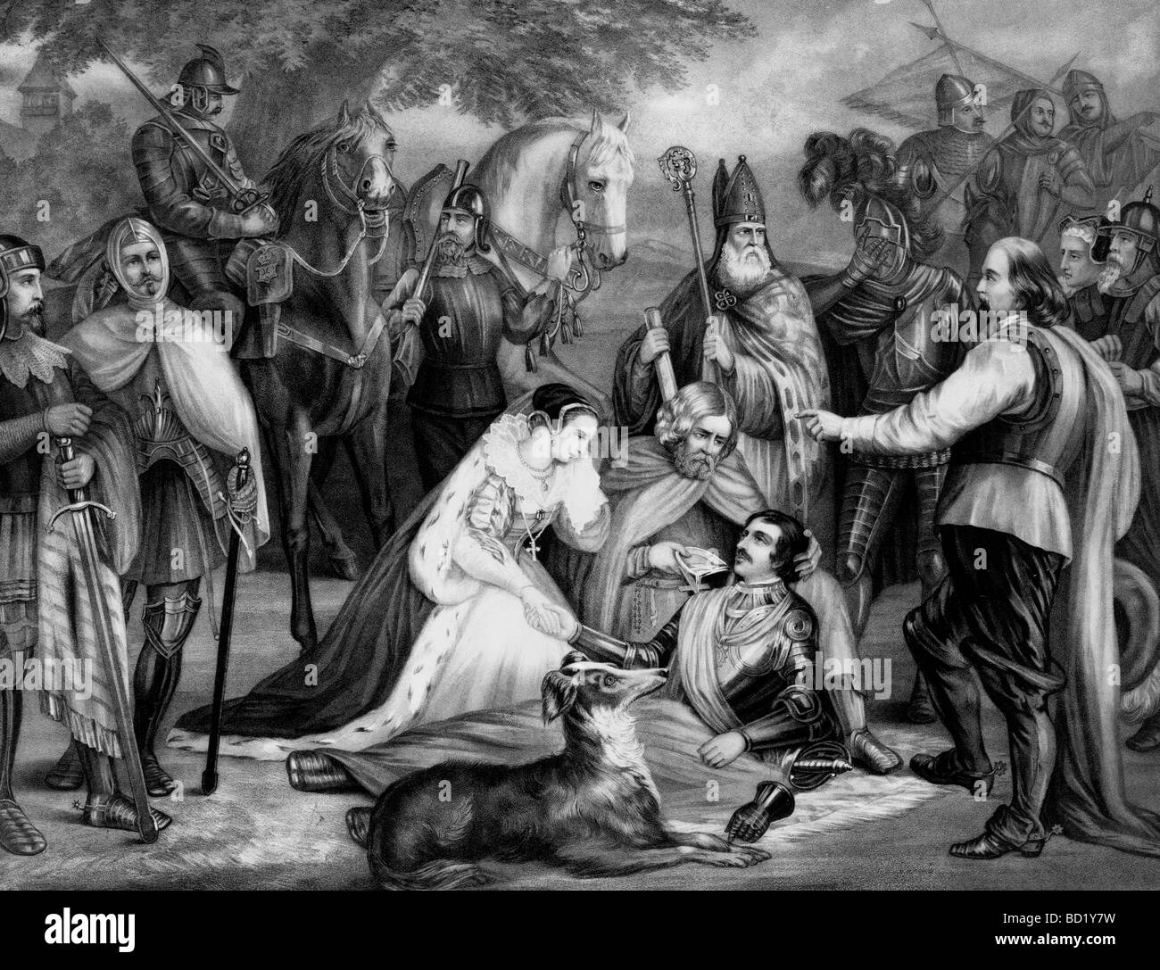 Mary of Scotland mourning over the dying Douglas at the Battle of Langside, 1568 Stock Photo