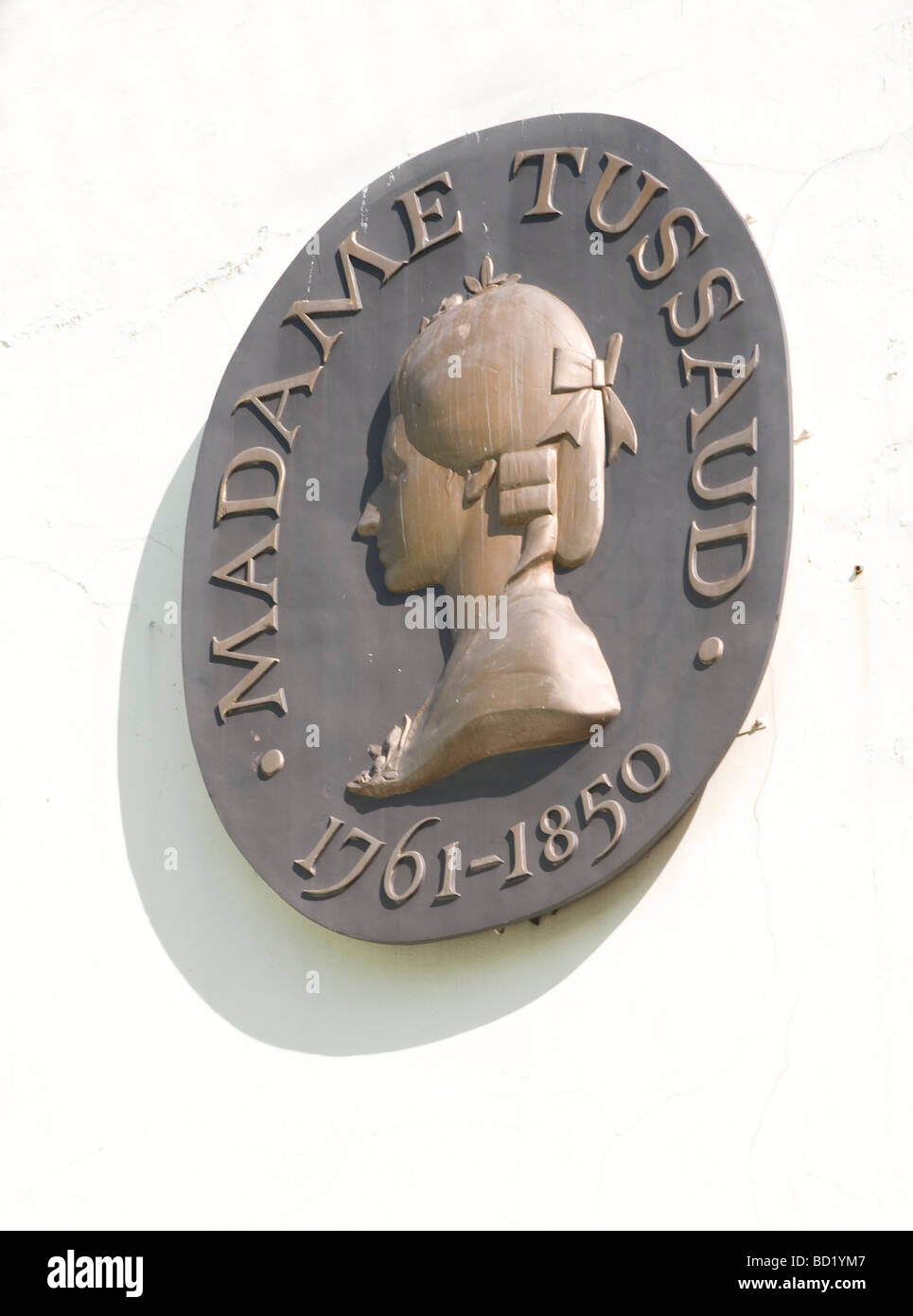Madame Tussaud's, London showing close up of plaque commerating Madame Tussaud 1761-1850 - Stock Image