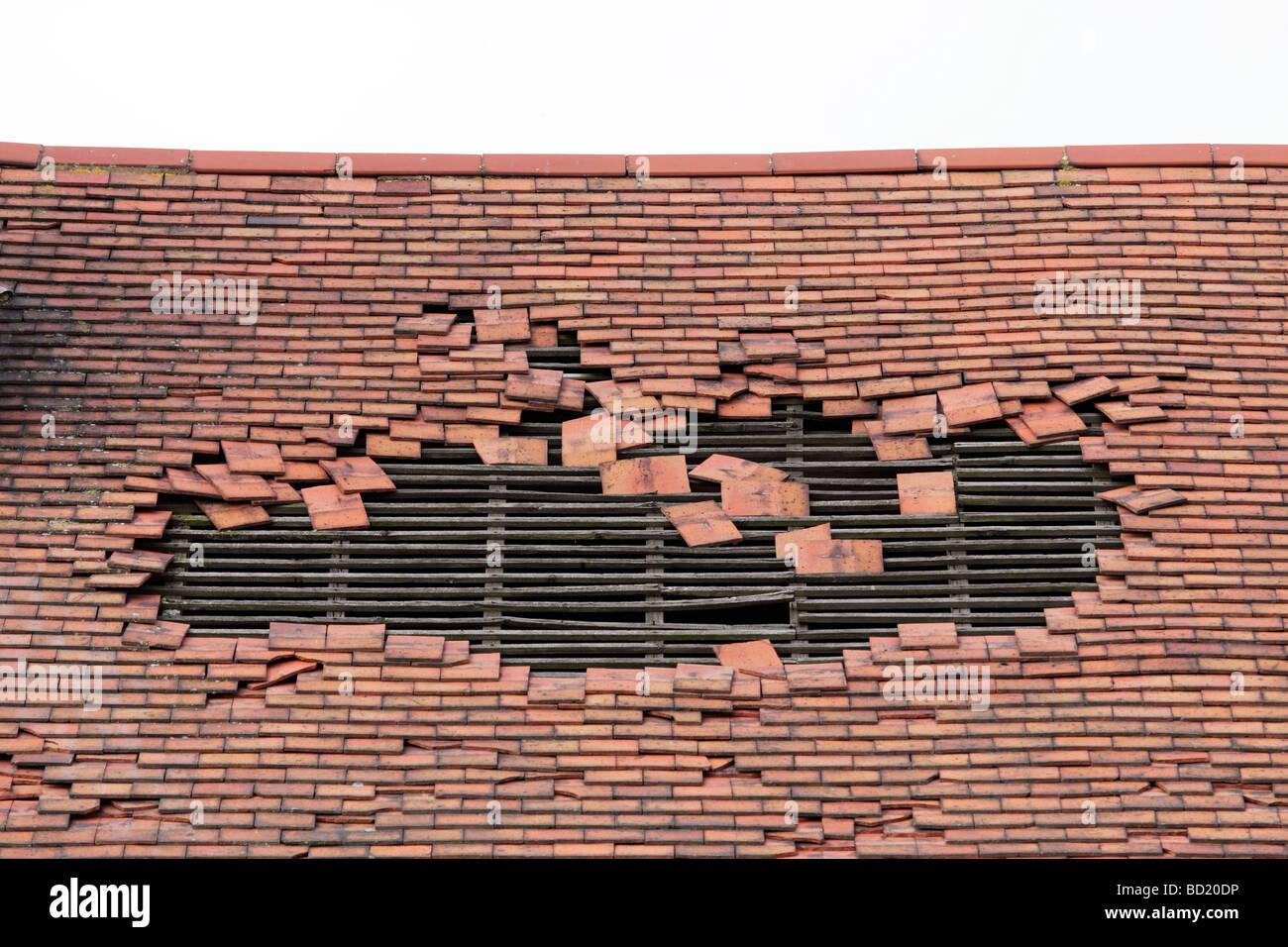 Damaged Roof Tiles Stock Photos Amp Damaged Roof Tiles Stock