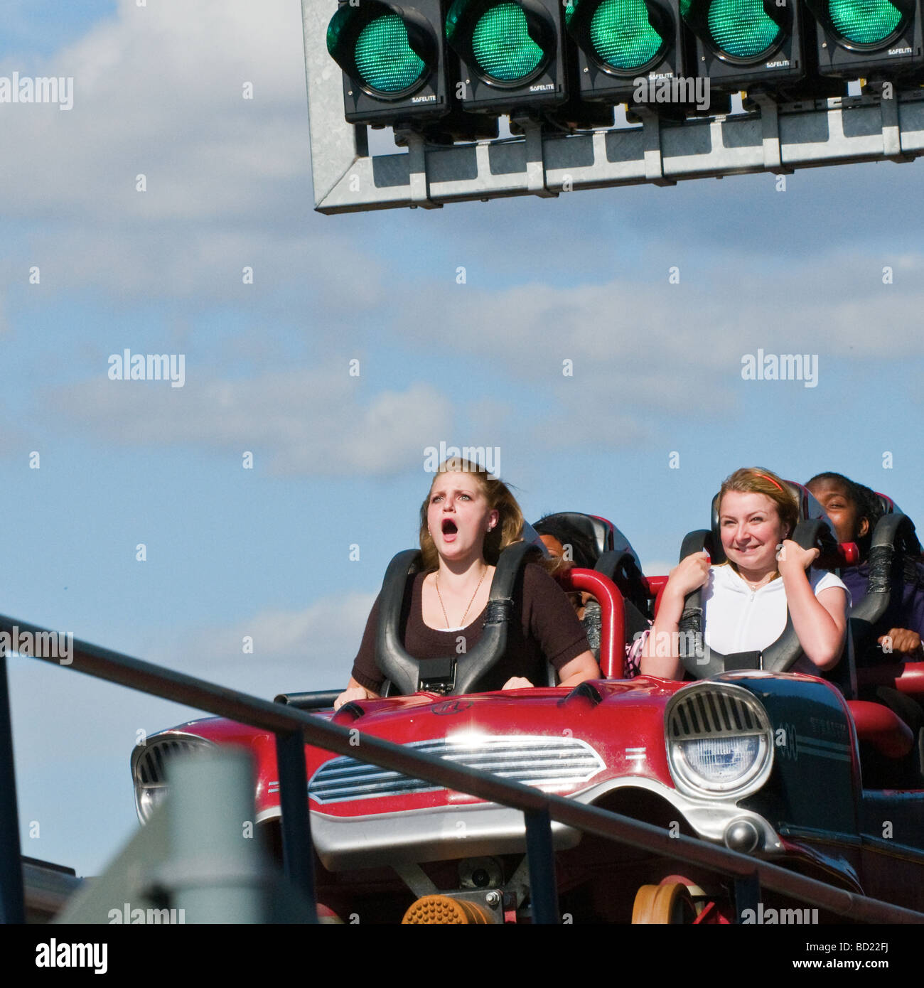 Stealth roller coaster ride, Thorpe Park Theme Park, Surrey, England, UK. Pleasure park and ride fun day out. (Close - Stock Image