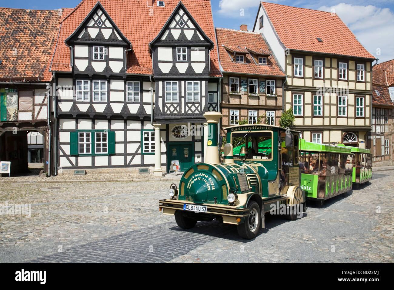 Schlossberg, Quedlinburg, Saxony Anhalt, Germany with tourist train - Stock Image