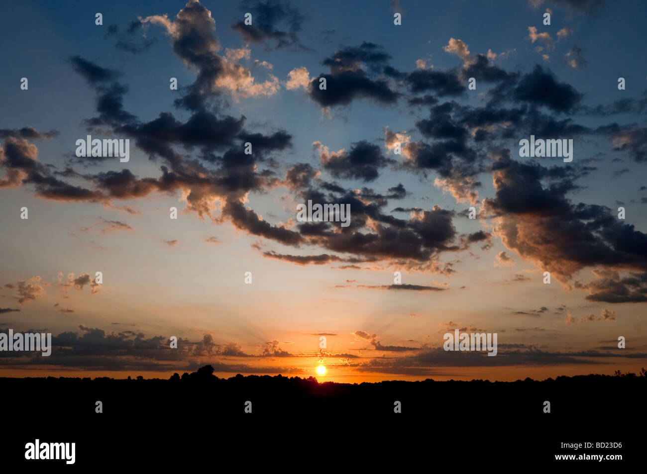 Dawn / sunrise / first light with Cumulus and Altocumulus clouds - Indre-et-Loire, France. Stock Photo