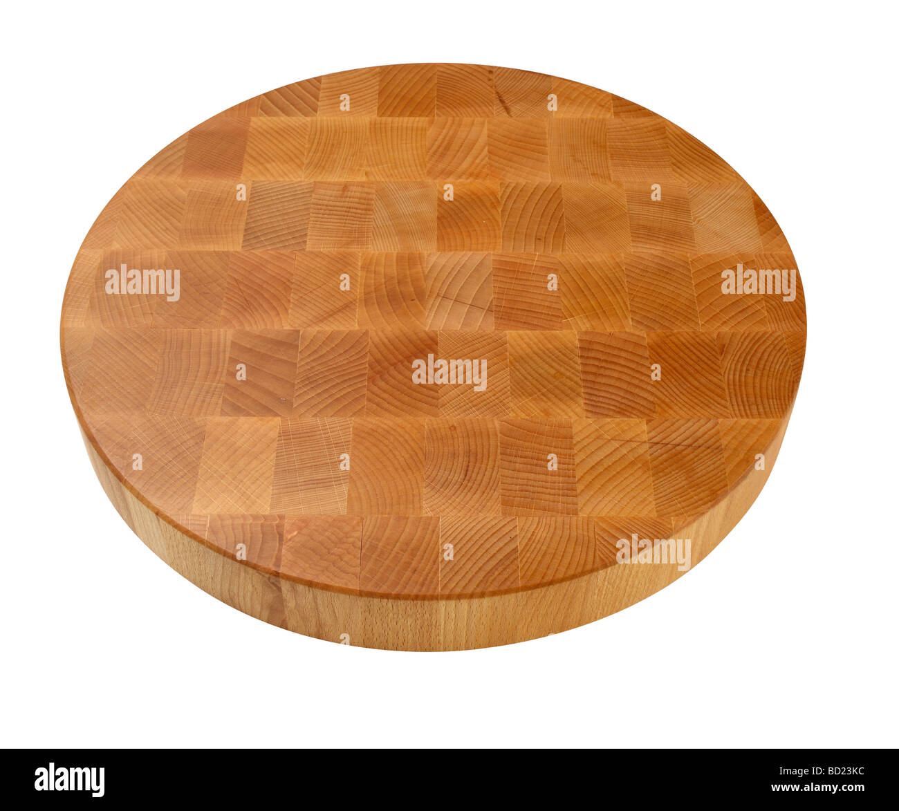 round wood cutting board - Stock Image
