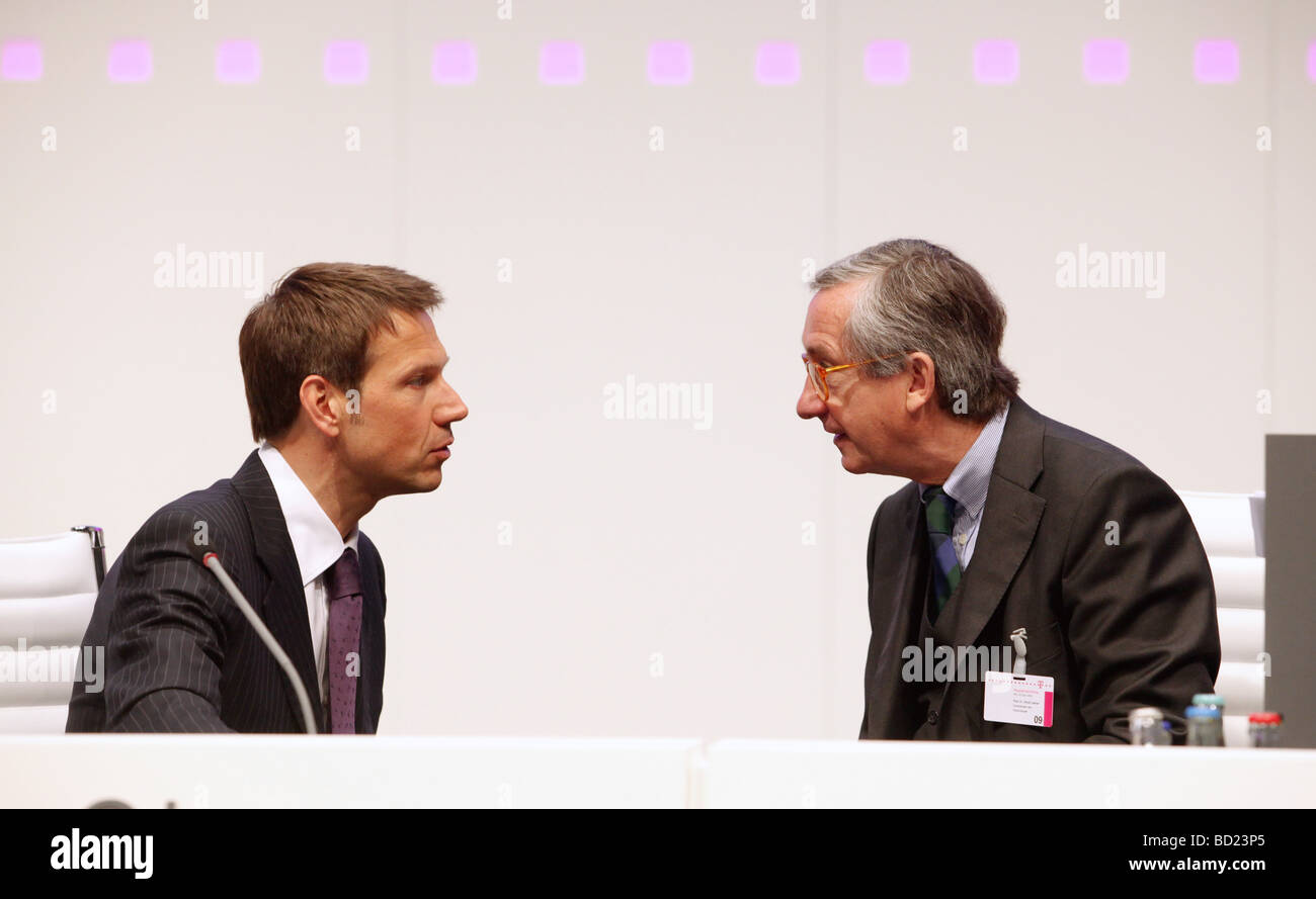 Deutsche Telekom CEO Rene Obermann (L) and supervisory board chairman Ulrich Lehner , anual general meeting, AGM, Stock Photo