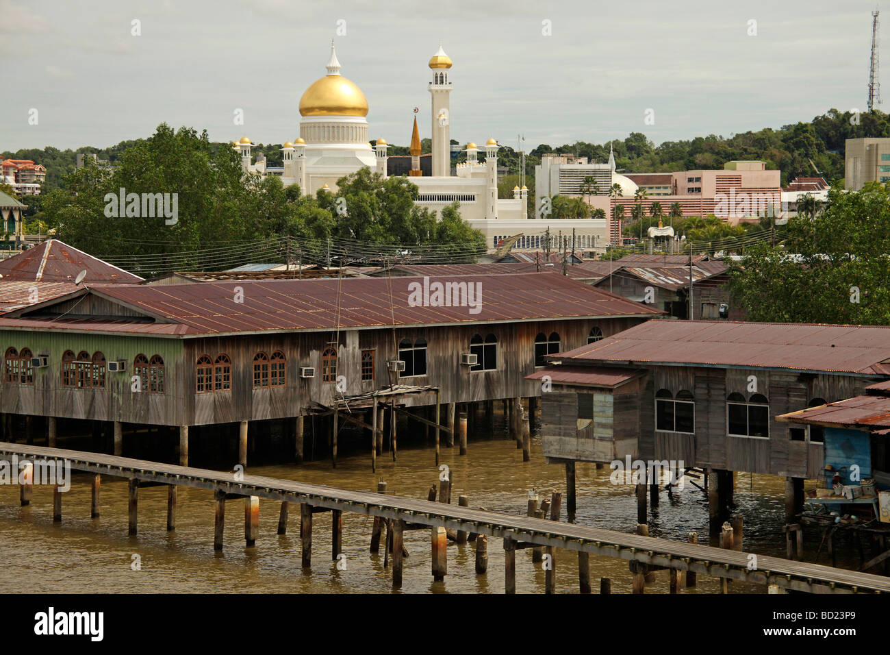 Kampong Ayer  and the Royal Mosque of Sultan Omar Ali Saifuddin in the capital city Bandar Seri Begawan Brunei Asia - Stock Image