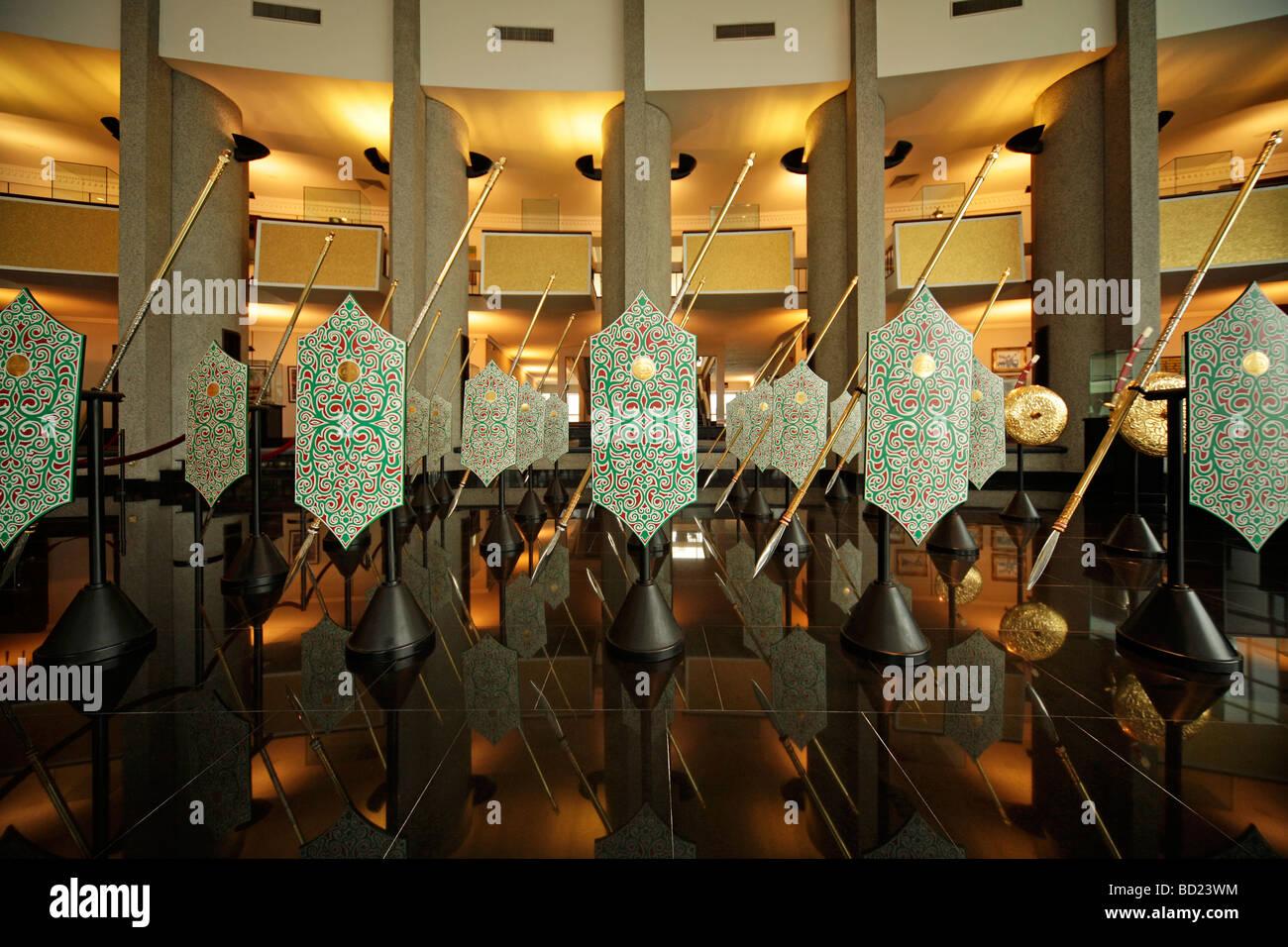weapons and shield Royal Treasury Royal Regalia Museum in the capital city Bandar Seri Begawan Brunei Asia - Stock Image