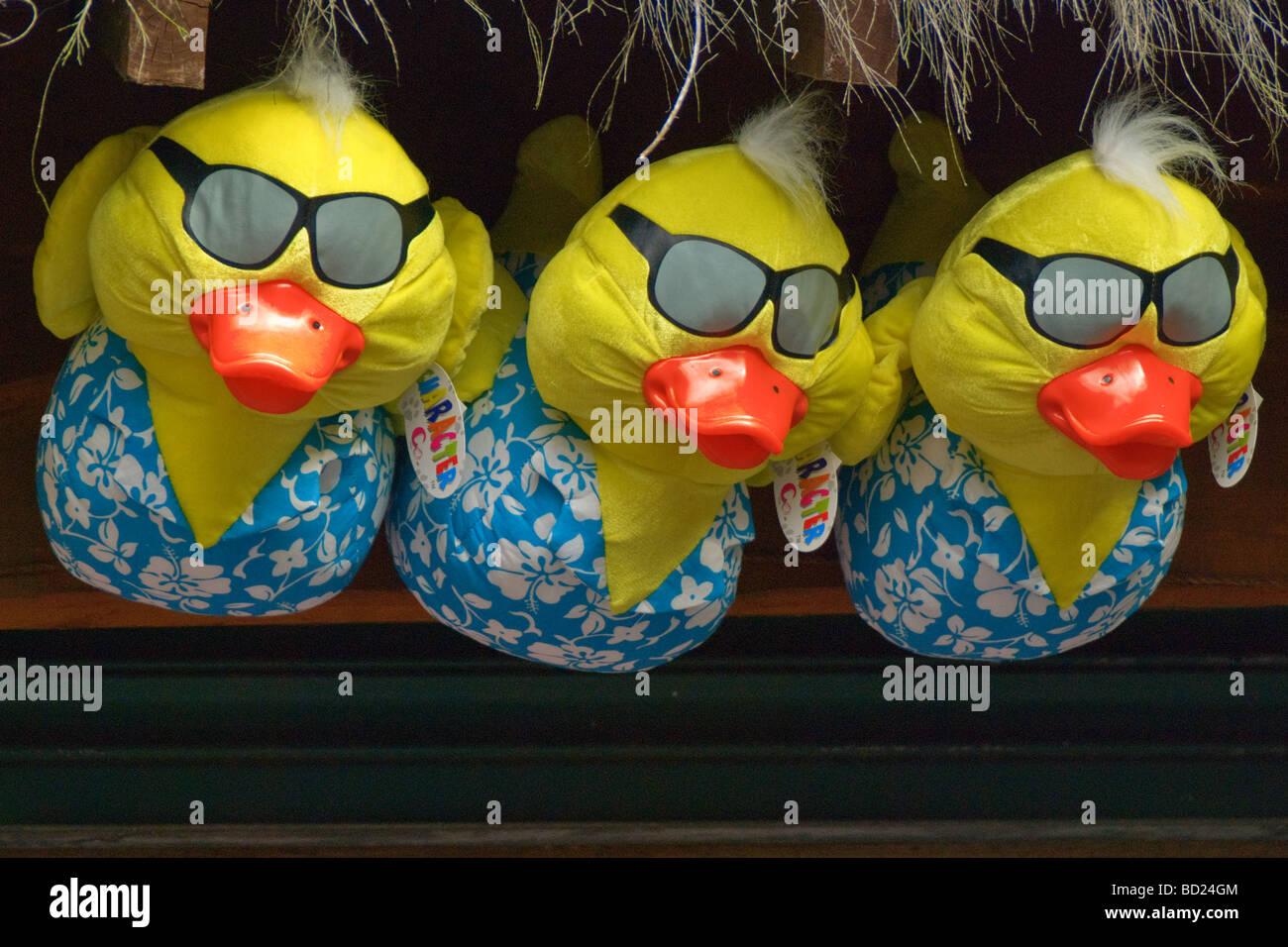 Three inflatable ducks. - Stock Image