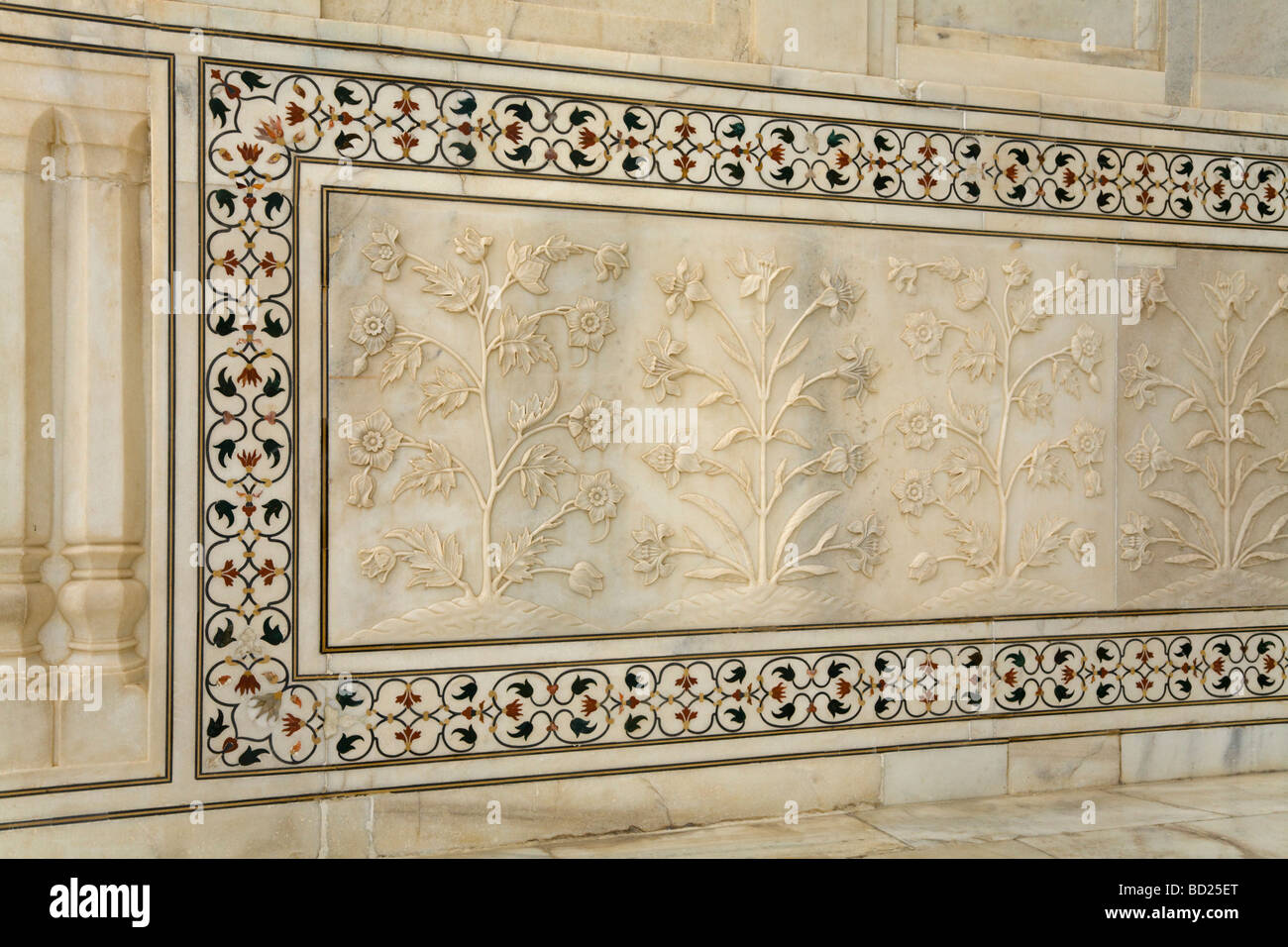 Stone Wall Of The Taj Mahal Mausoleum Made From Marble