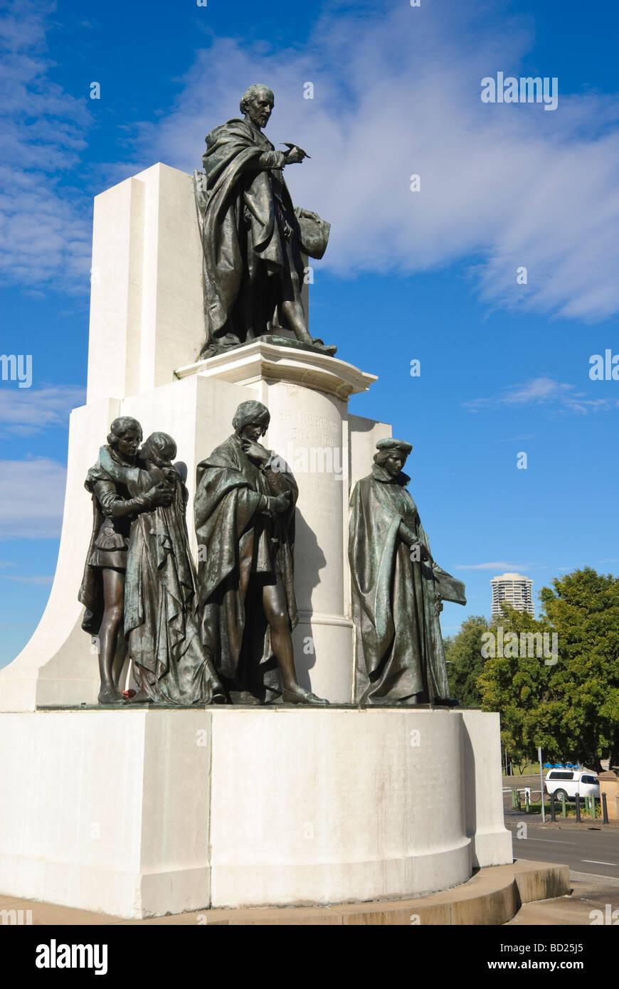 Statues in memorial to Shakespeare. Sydney, Australia. - Stock Image