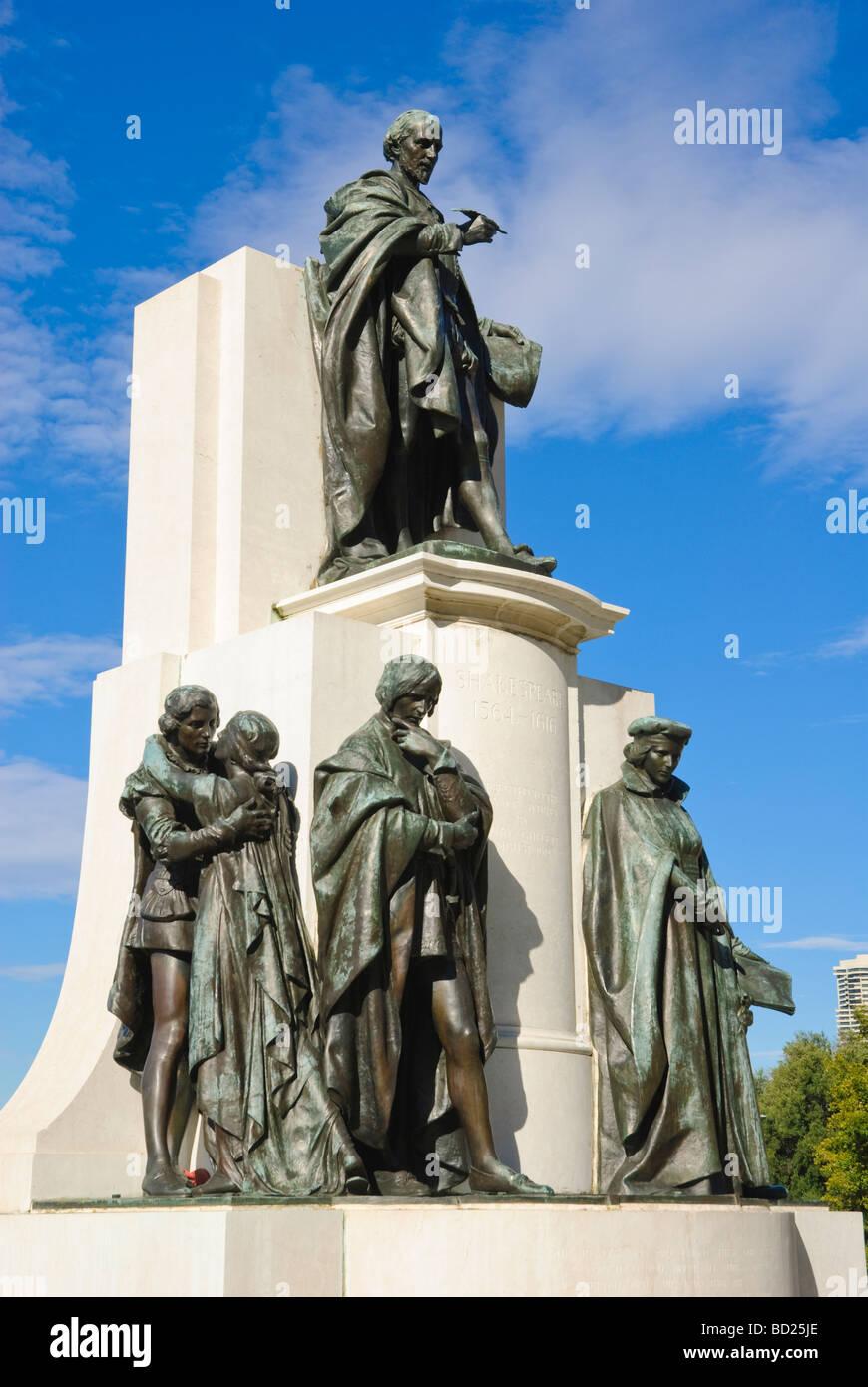 Bronze statues in memorial to Shakespeare. Sydney, Australia. - Stock Image