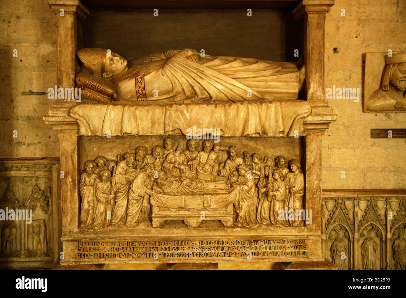 Gravestone in the Palais des Papes, Pope's Palace, in Avignon, Provence, France, Europe - Stock Image