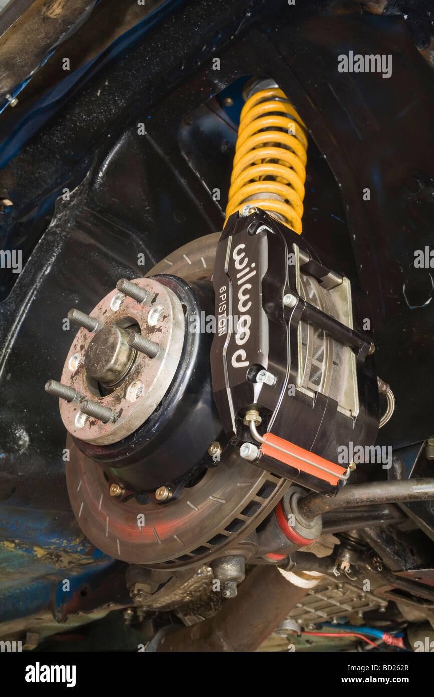 High performance brake caliper rotor on modified car Stock Photo