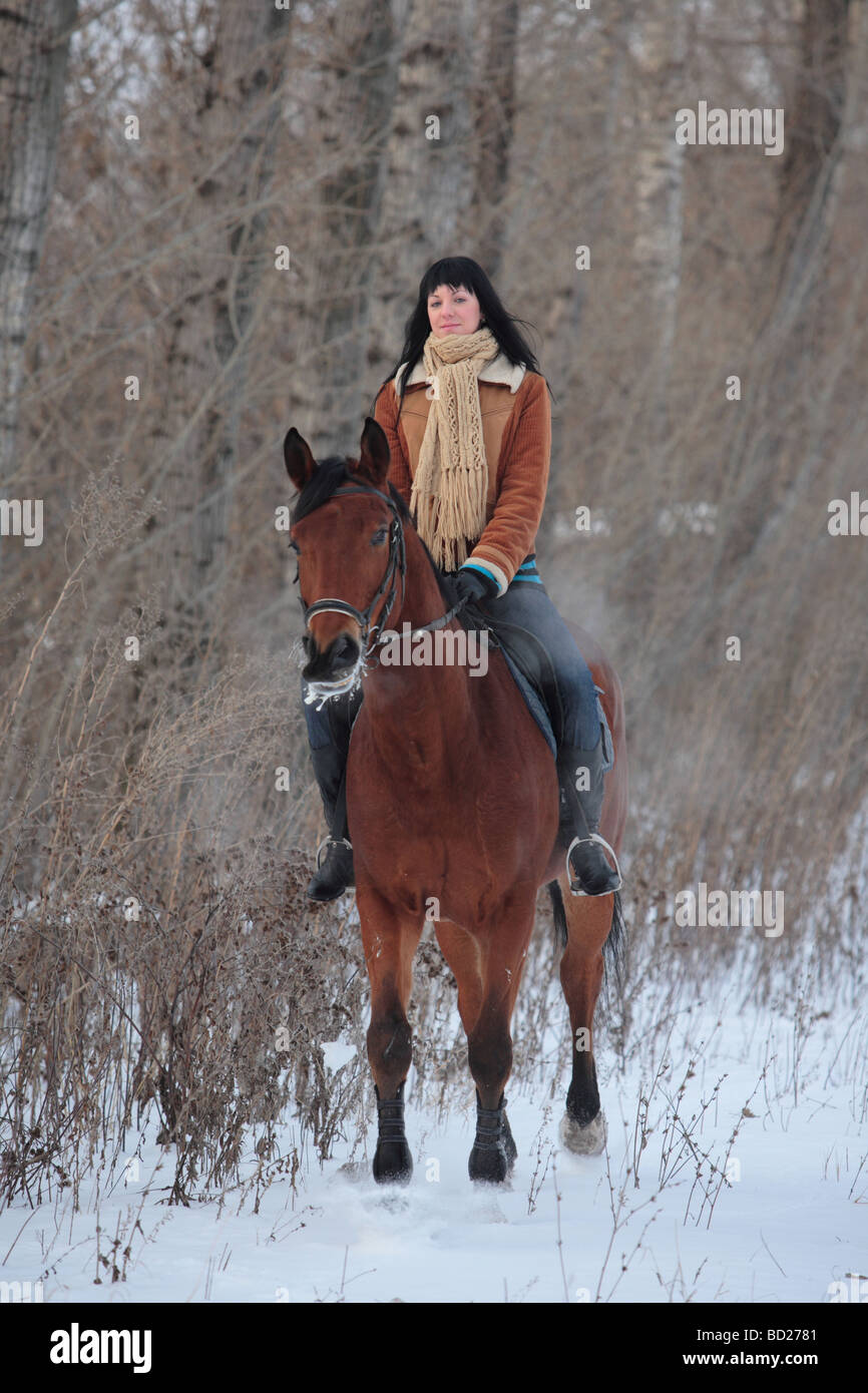 Woman horseback riding on the park way - Stock Image