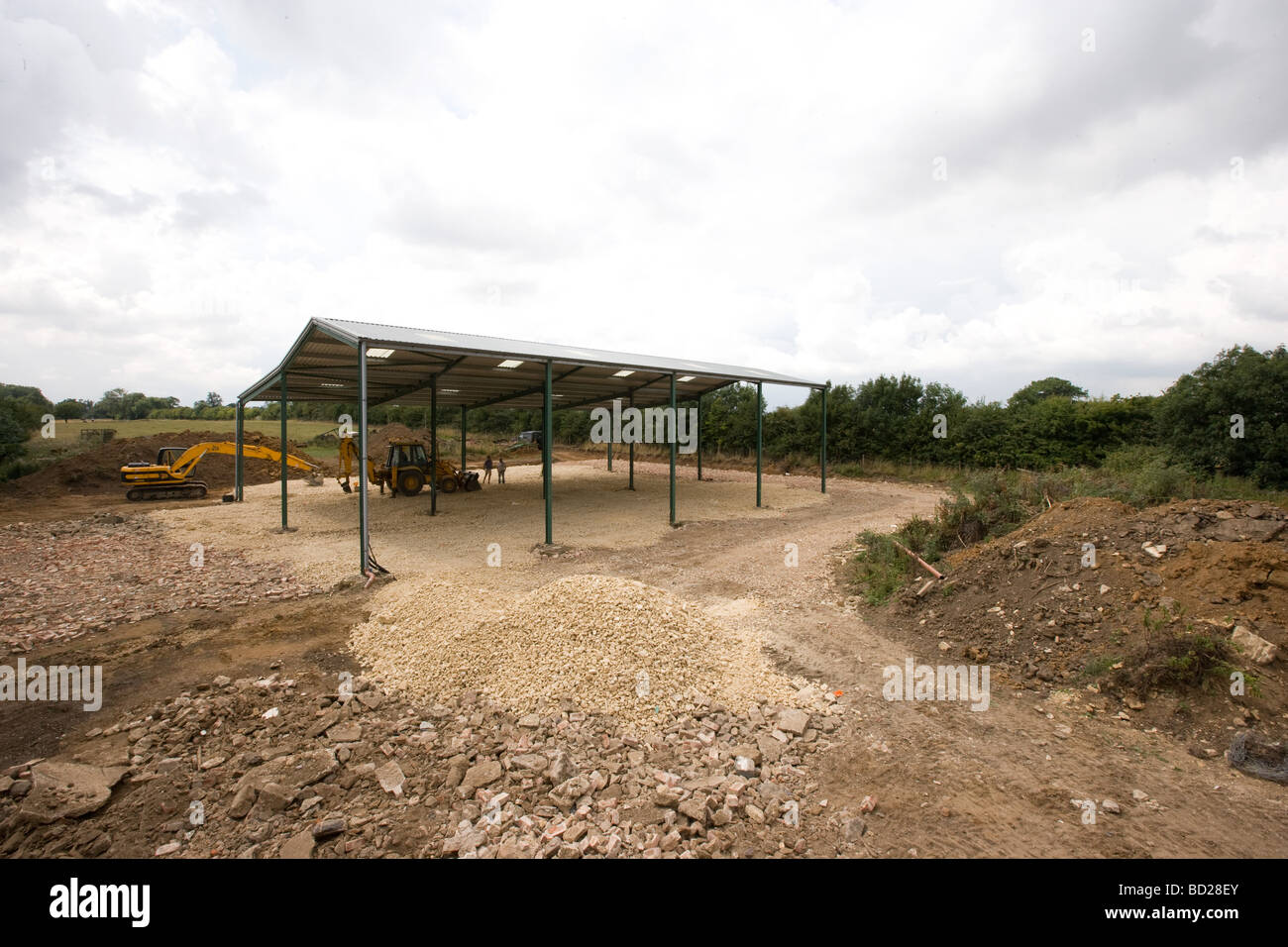 Construction Work On A New Agricultural Shed - Stock Image
