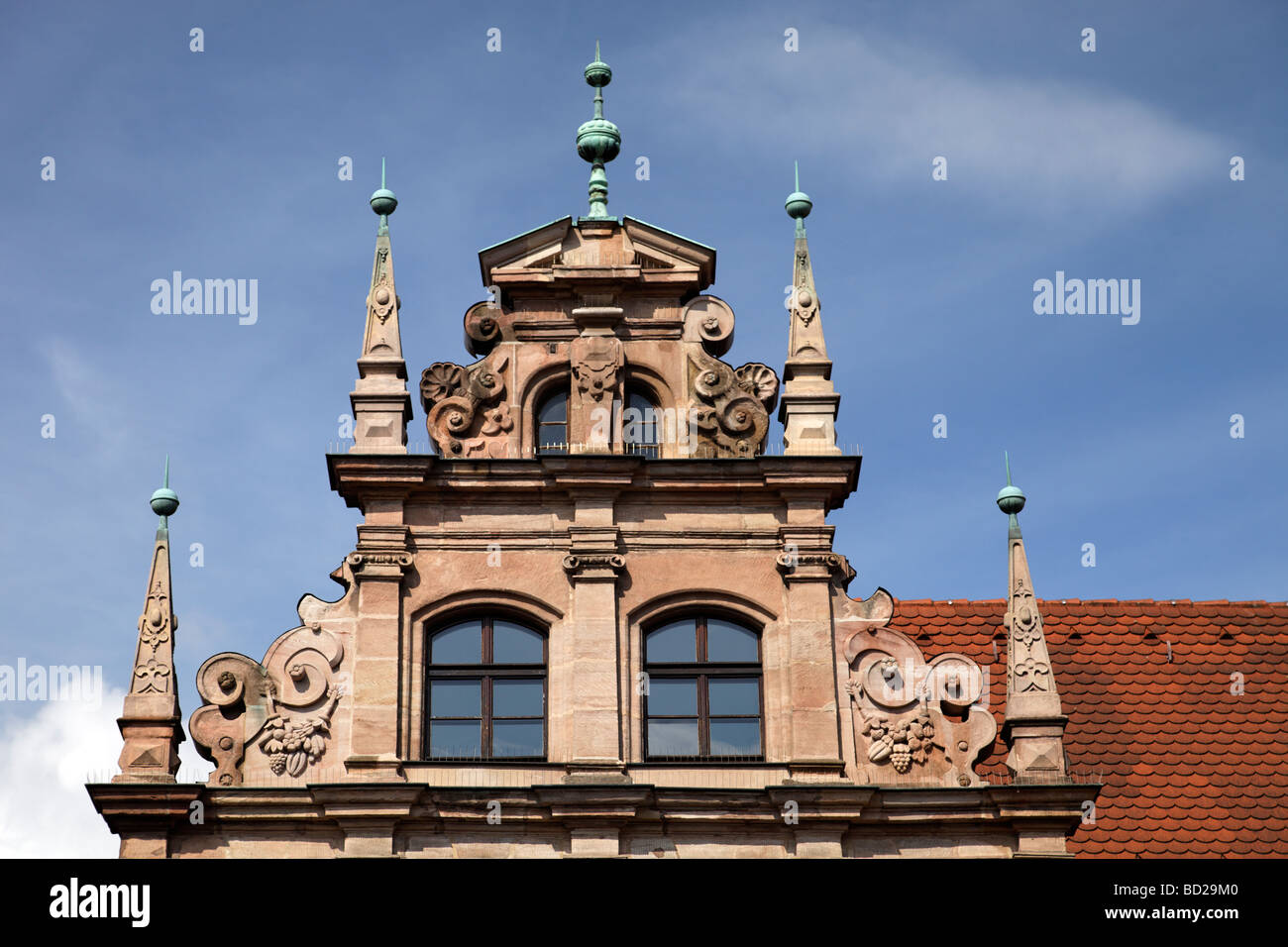 Toy museum, gable, renaissance, former Patrician house, built around 1517, Karlstrasse 13-15, historic centre, City - Stock Image