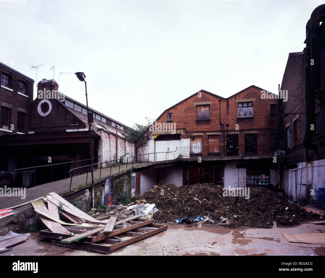 Demolished building in the old Kings Cross area London UK - Stock Image