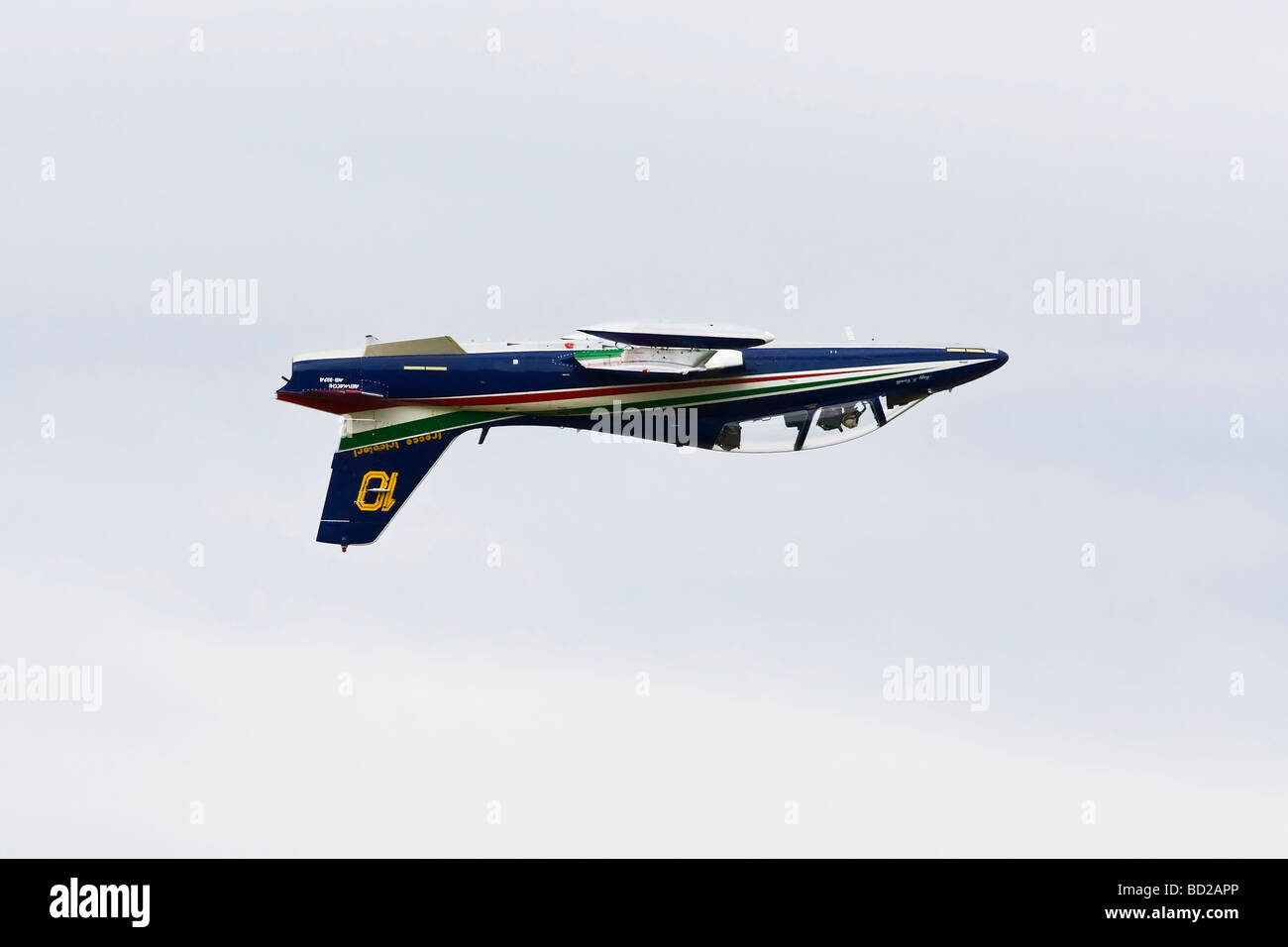 An Aermacchii MB339 of the Italian air force aerobatic team The Frecce tricolori Stock Photo