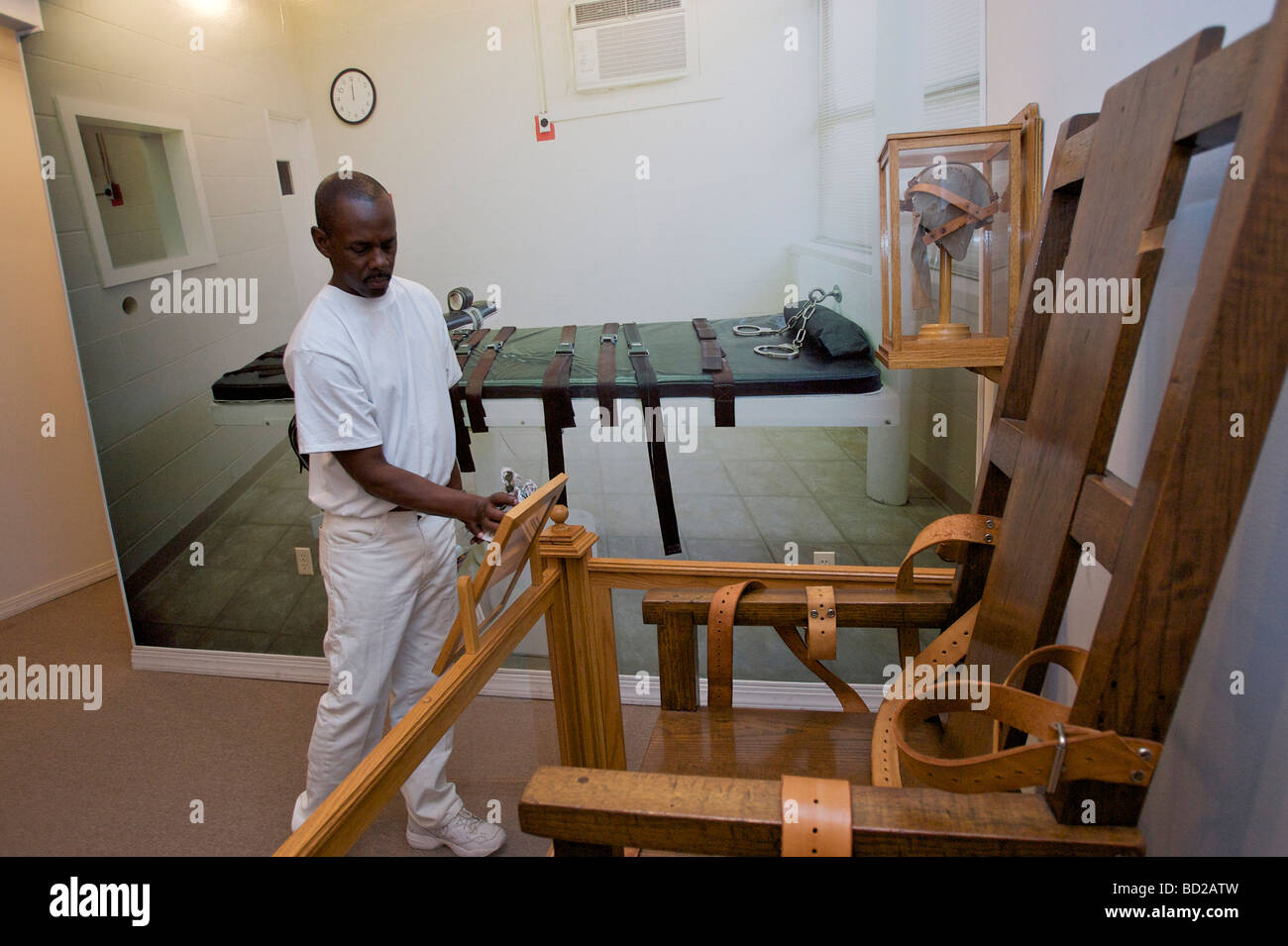 Elegant Louisiana State Peniteniary, Angola, United States. The Electric Chair In  The Prison Museum