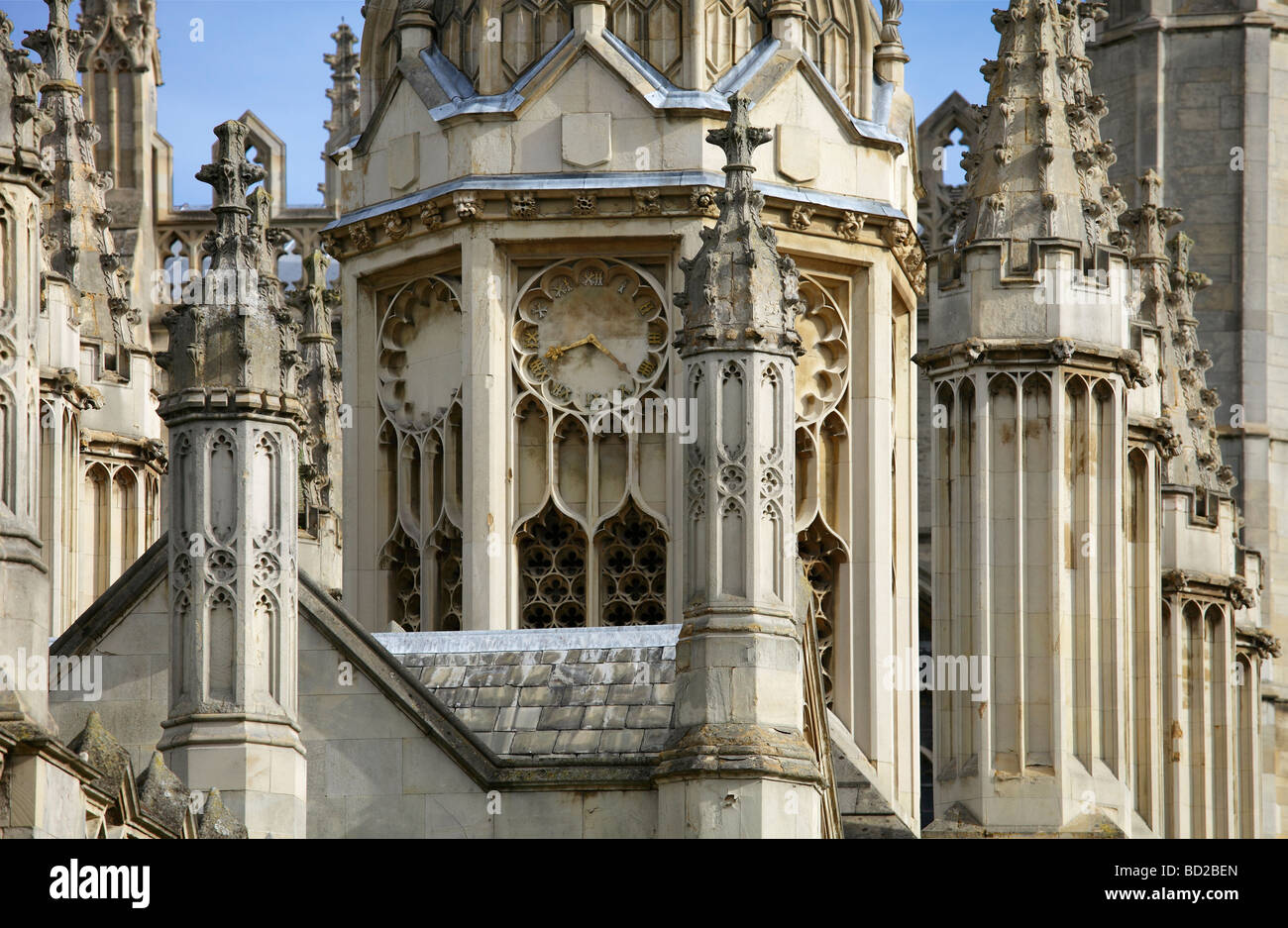 Dreaming Gothic spires- entrance to King's College Cambridge 2 - Stock Image