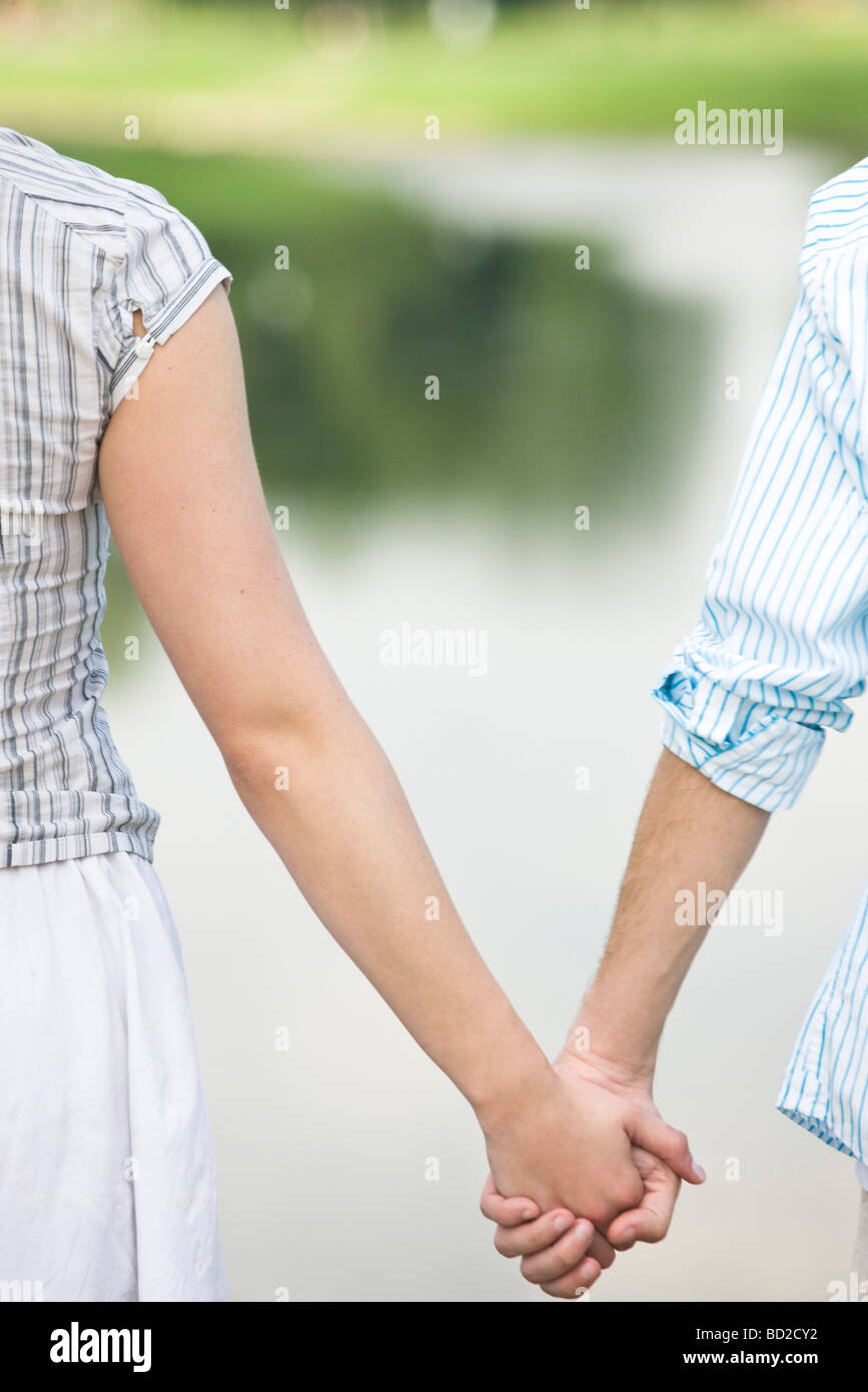 loving couple in park - Stock Image