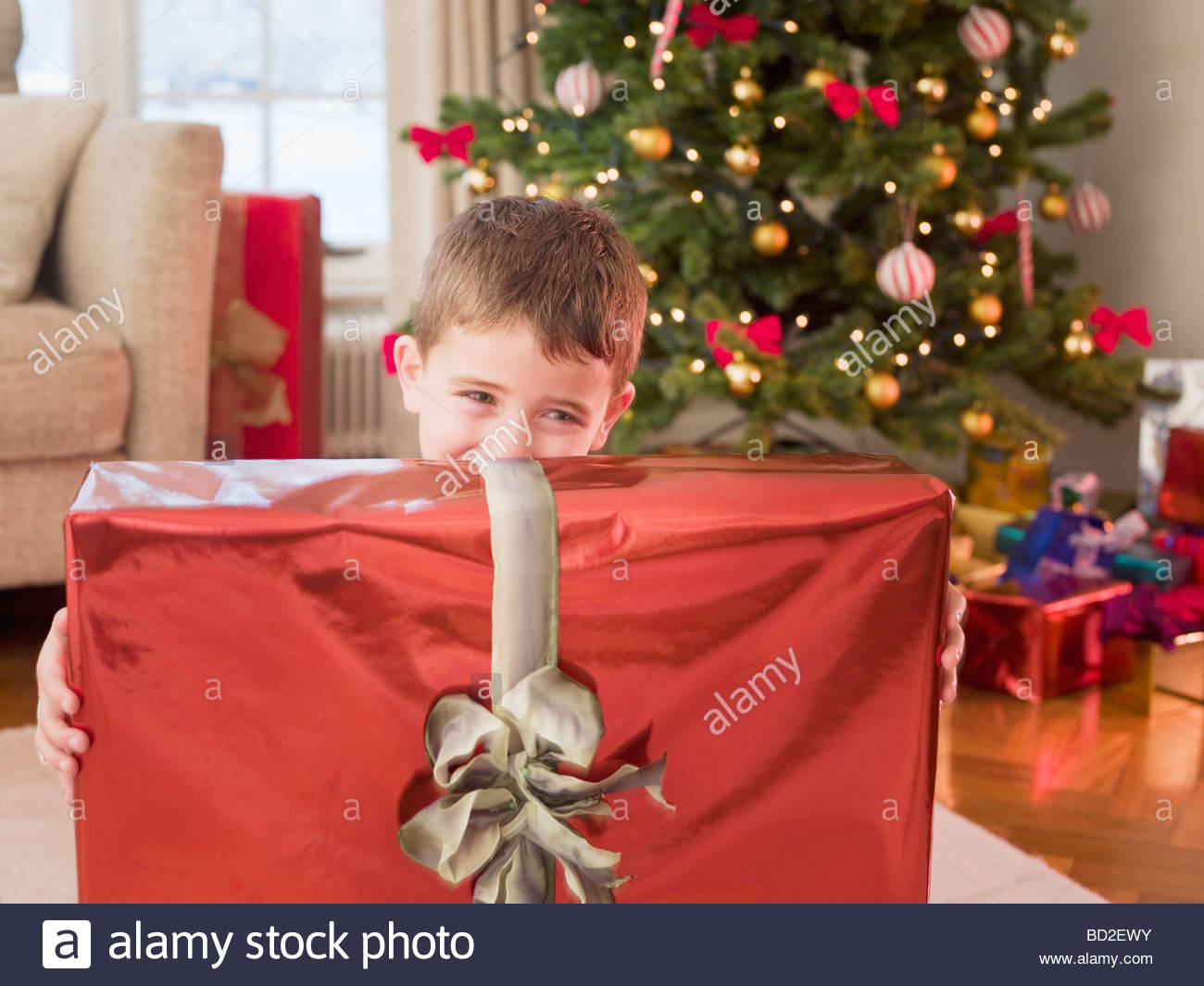 boy holding christmas gift stock image