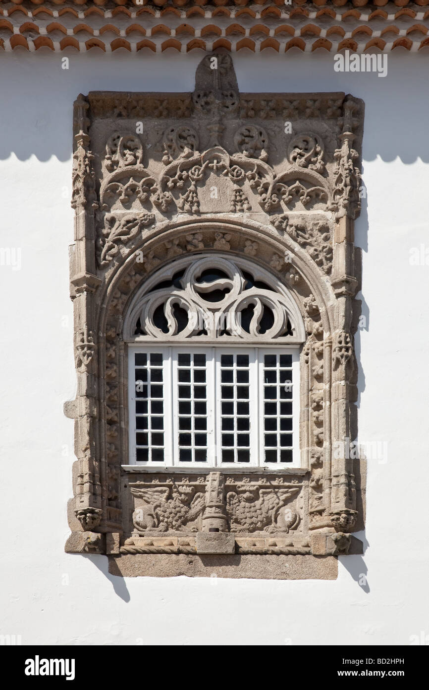 Window In The Manuelino Style Portuguese Gothic From Coimbras House Braga City Portugal