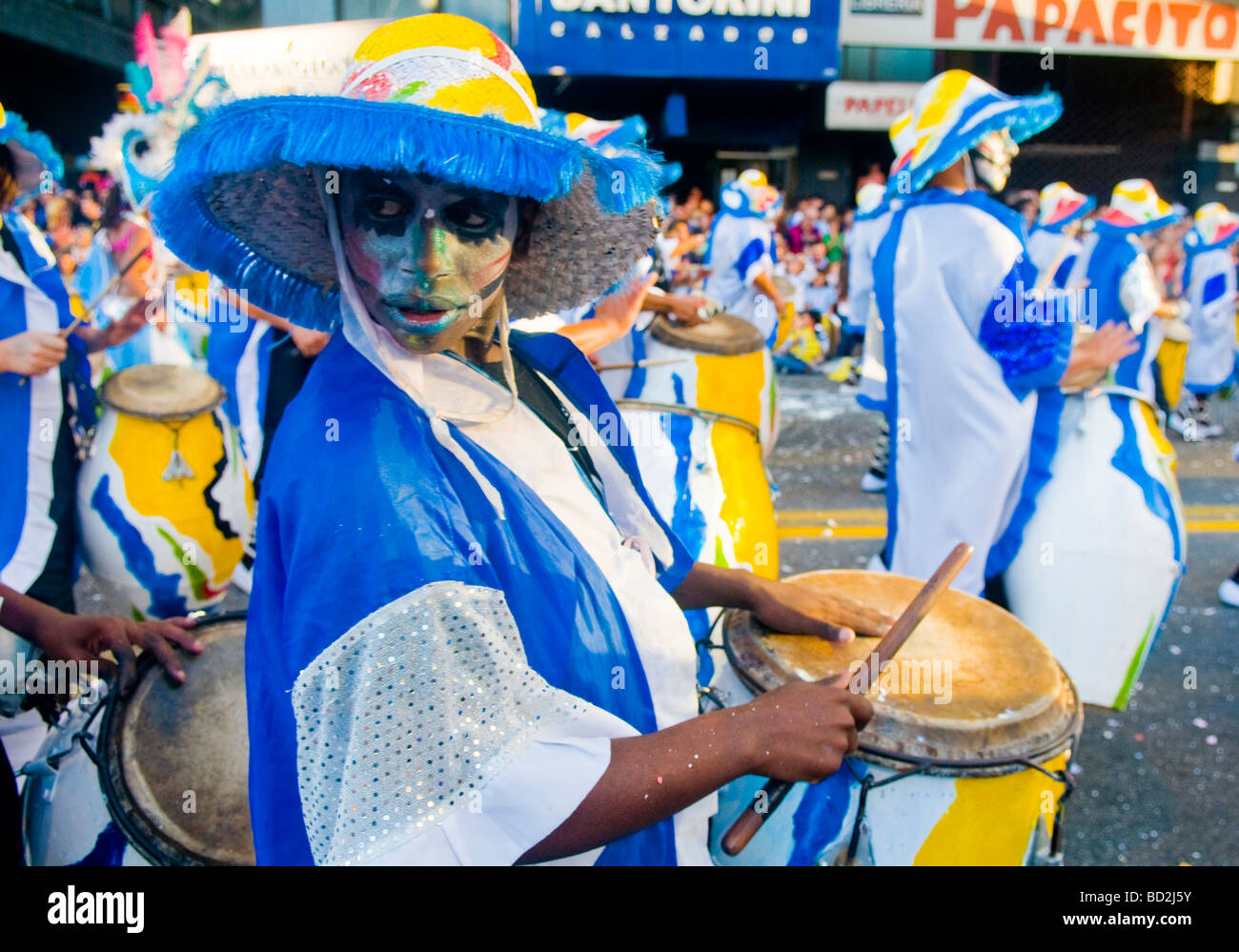 Candombe drummers in the  Montevideo annual Carnival - Stock Image