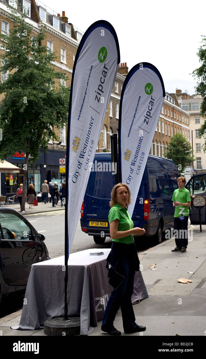 Westminster Zipcar promotion Baker Street London England UK Europe - Stock Image