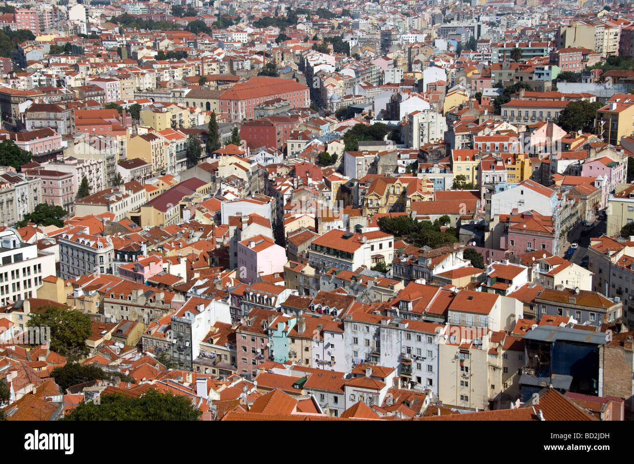 Aerial view of Lisbon rooftops from Saint George Castle Portugal - Stock Image