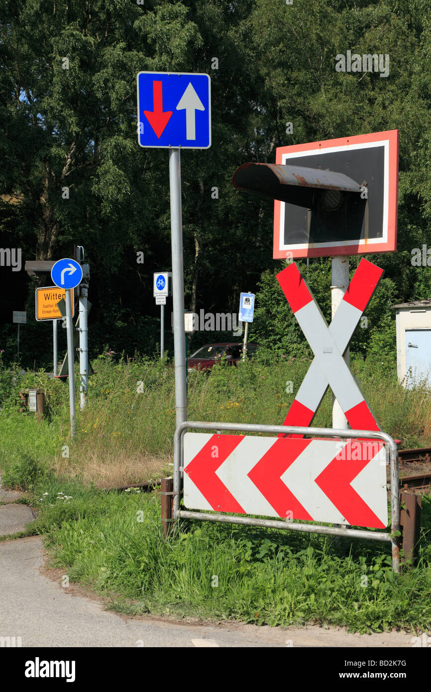 transport, traffic, road traffic, rail traffic, rail transport, railroad traffic, traffic signs, forest of traffic Stock Photo