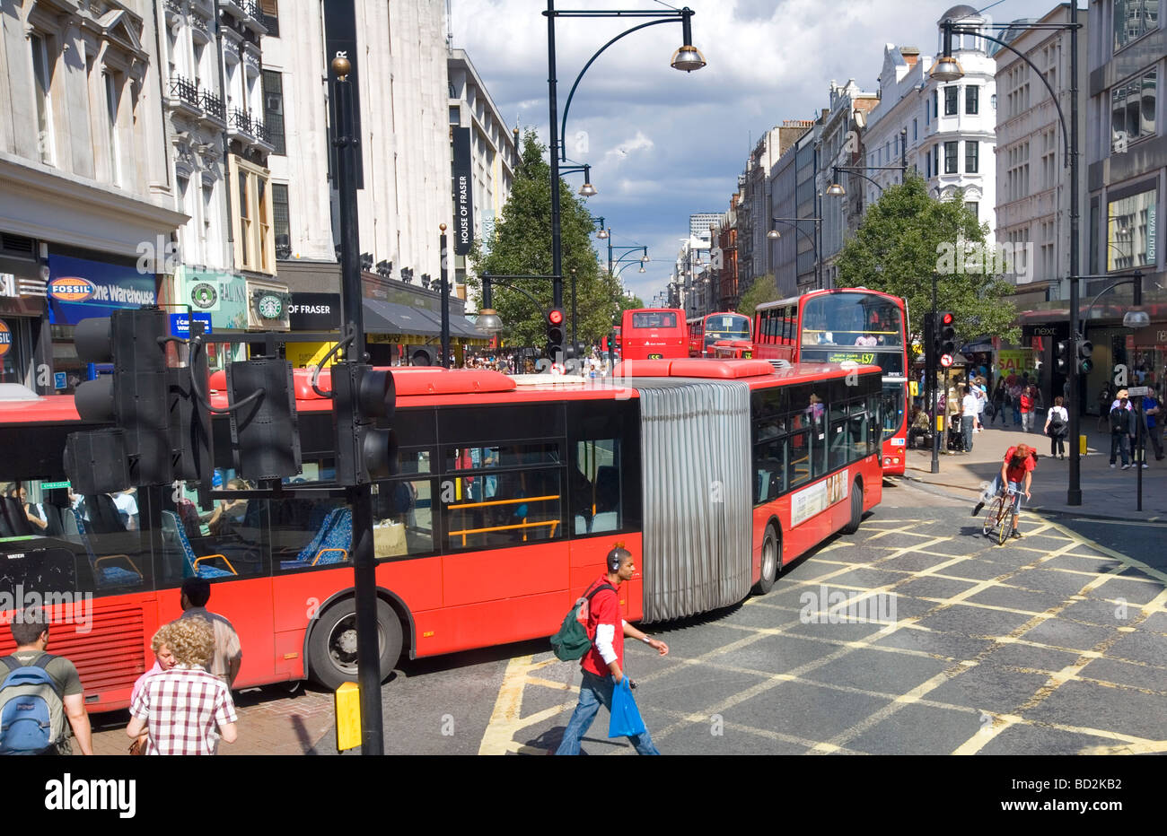 Bendy Bus and buses Oxford Street London England UK Europe - Stock Image