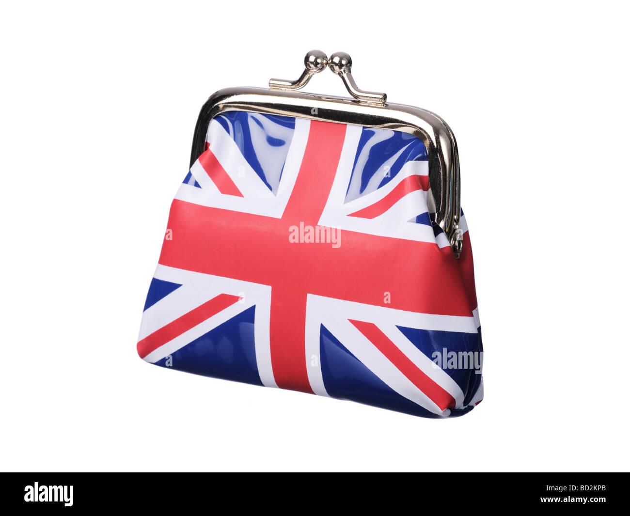 British money purse Union Jack flag - Stock Image