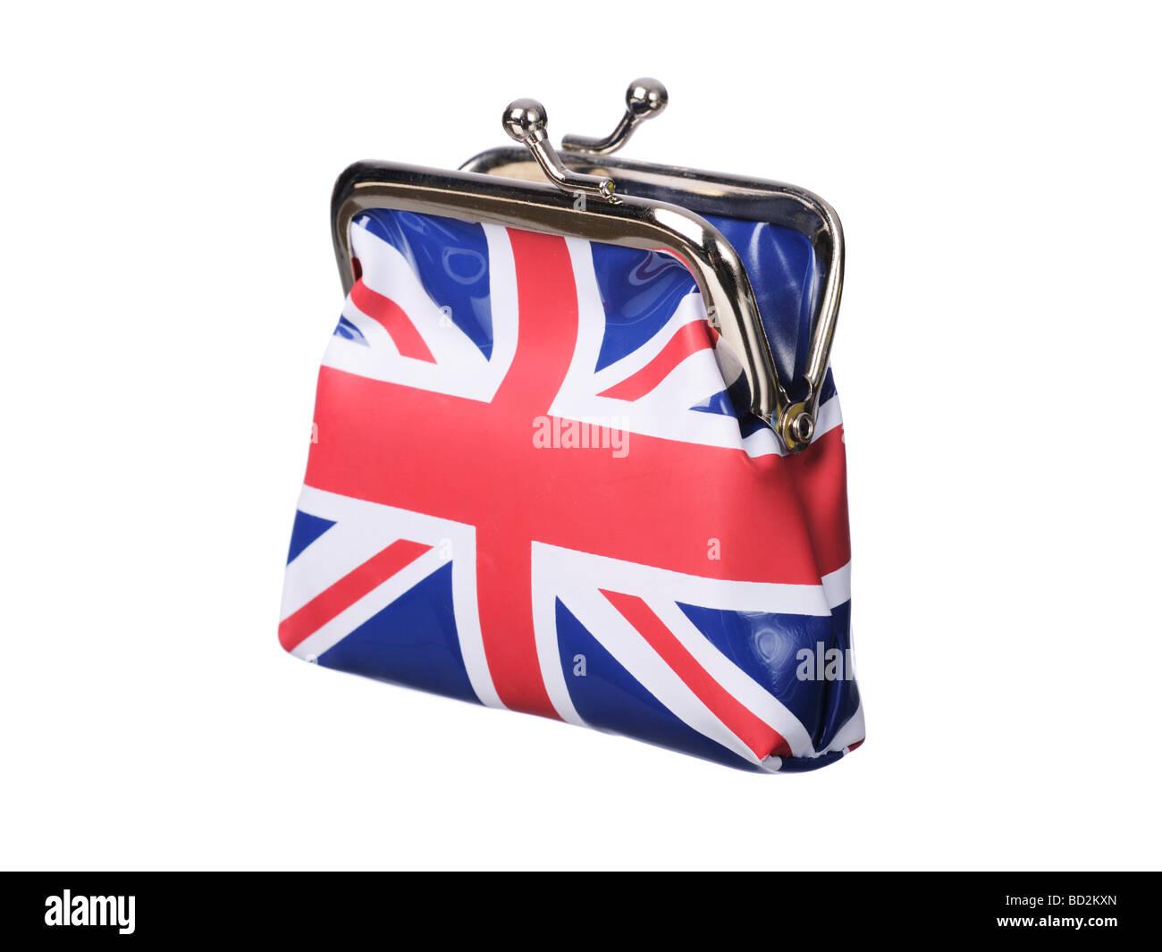British money purse Union Jack flag open - Stock Image