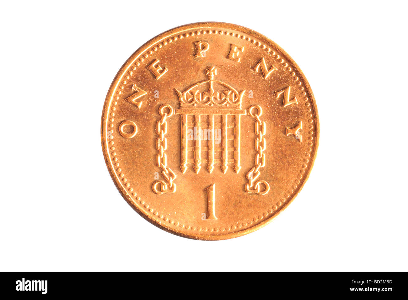 one penny coin - Stock Image