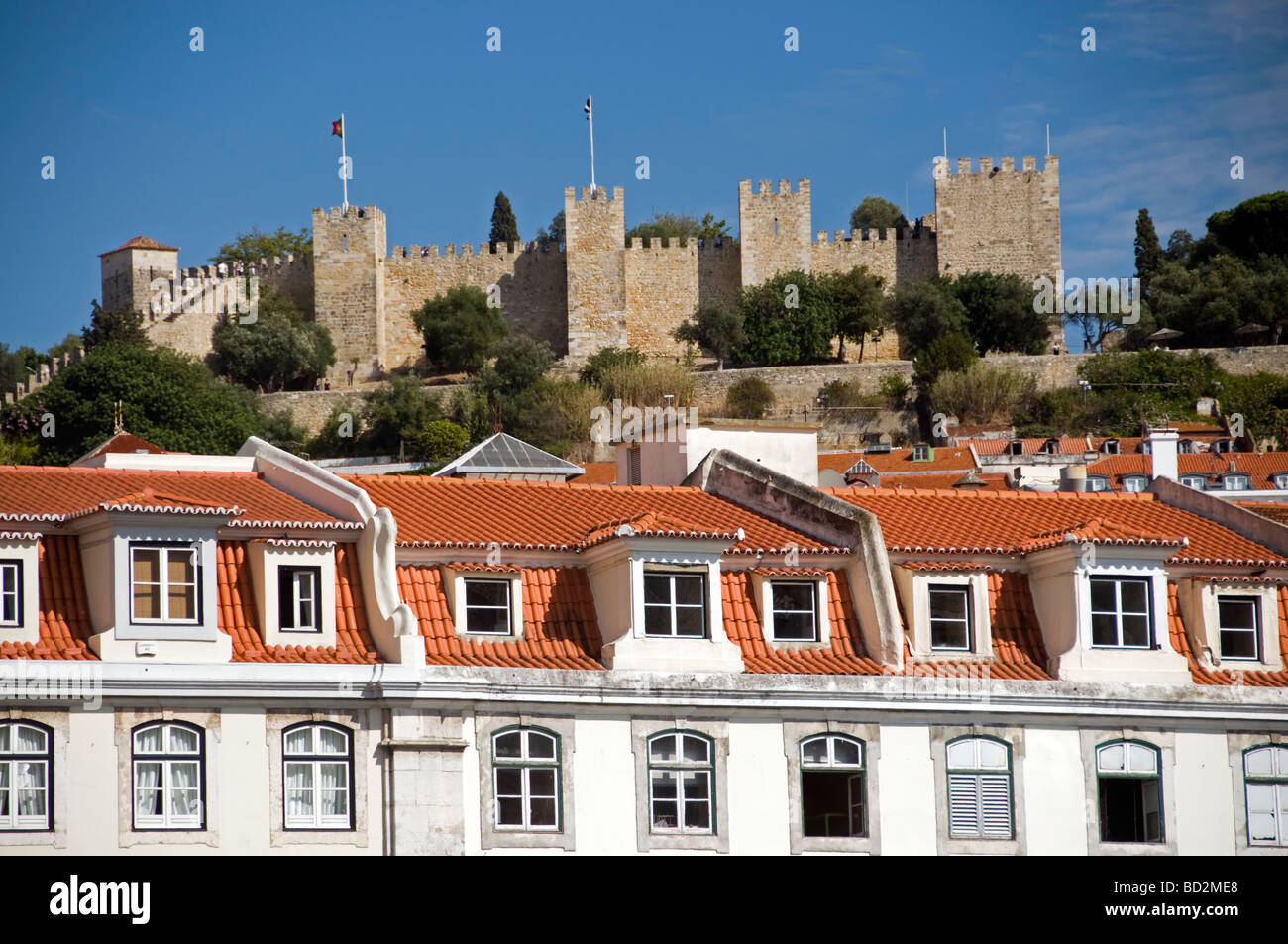 Saint George Castle and houses, Lisbon Portugal - Stock Image