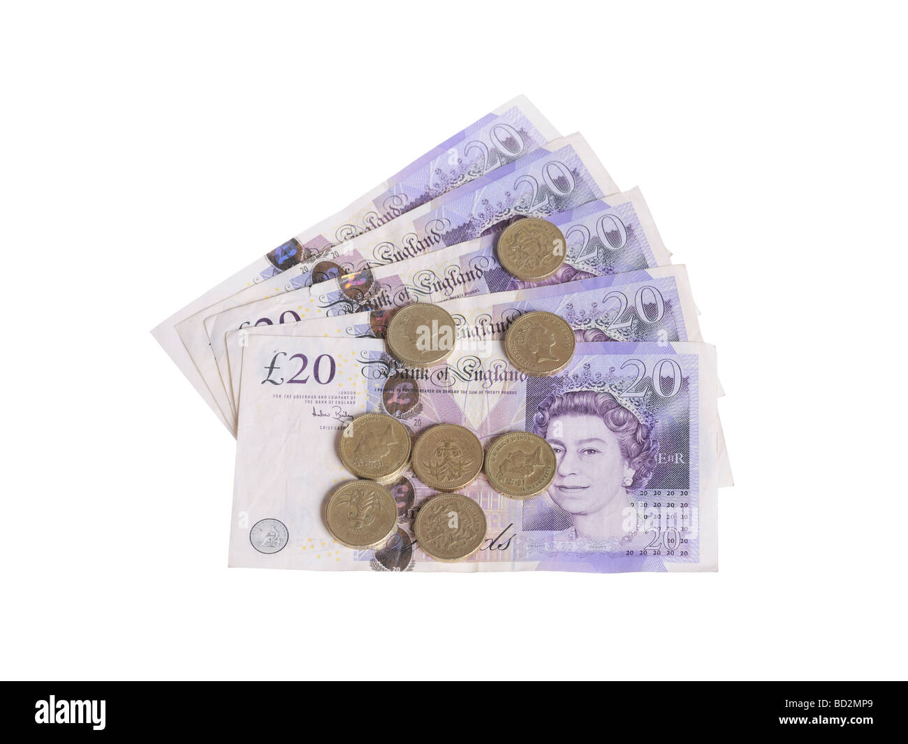 20 pound notes coins - Stock Image