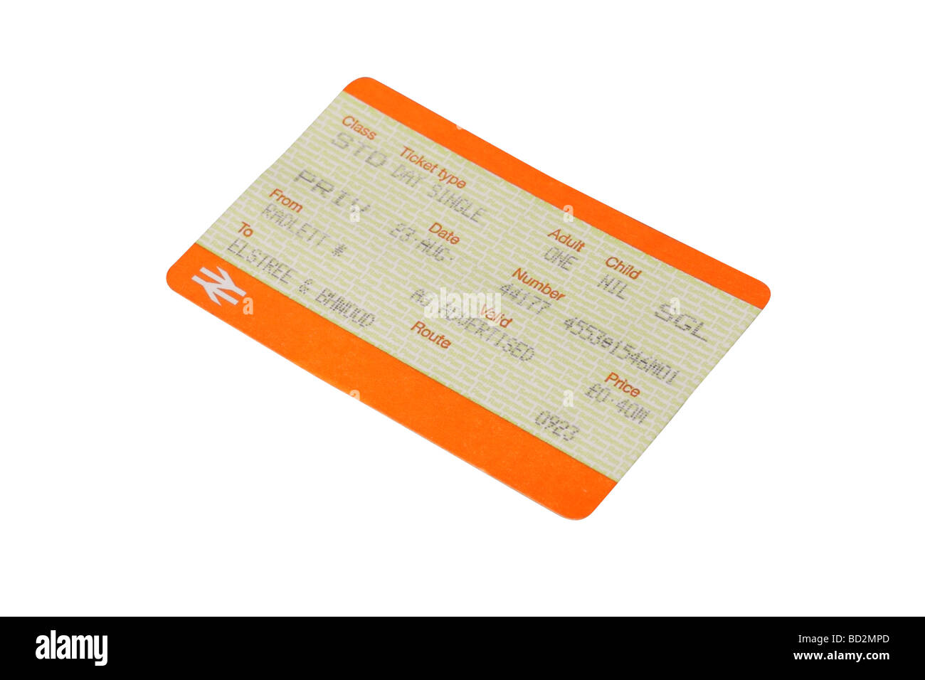 British rail train ticket - Stock Image