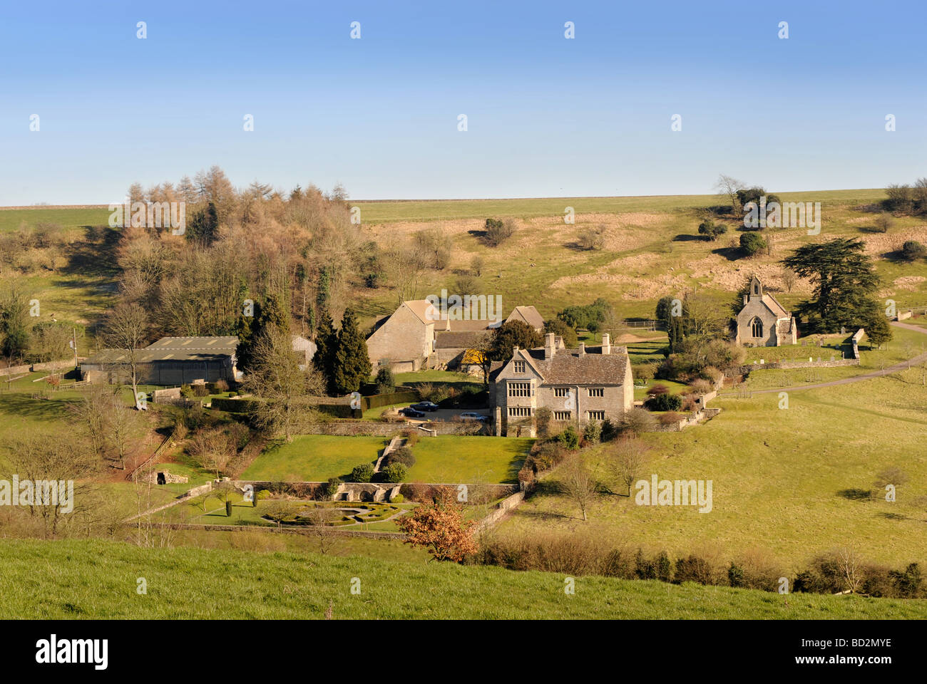 LASBOROUGH VILLAGE WITH THE MANOR HOUSE AND CHURCH IN GLOUCESTERSHIRE UK Stock Photo