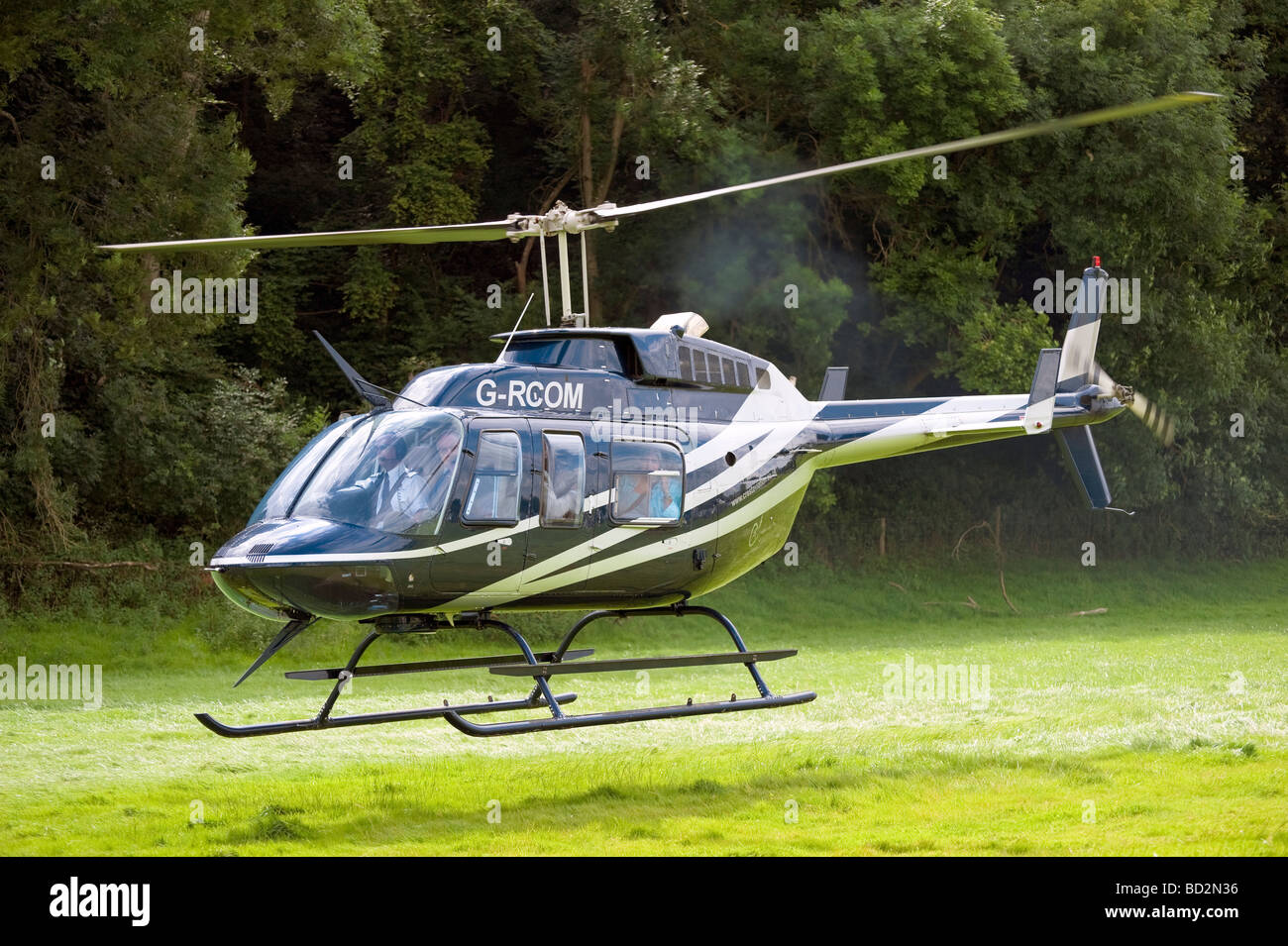 Helicopter taking off at Herefordshire Country Fair, UK. Helicopter take off or landing in field. Passengers on - Stock Image