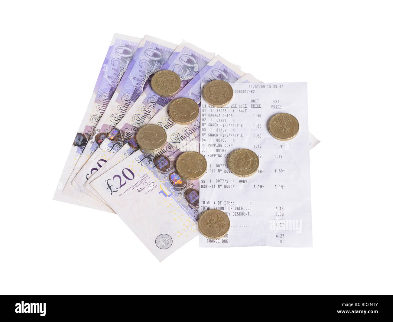 20 pound notes coins bill receipt - Stock Image